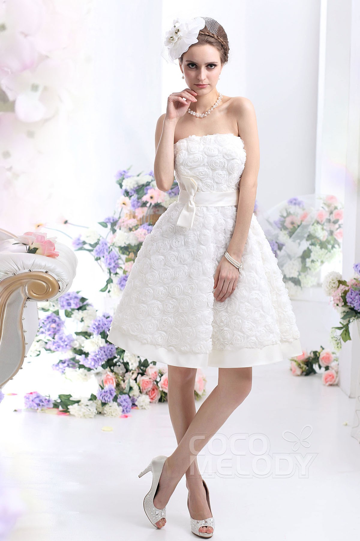 A line knee length sleeveless wedding dress cwzb13003 cocomelody pretty a line strapless knee length wedding dress cwzb13003 junglespirit Images