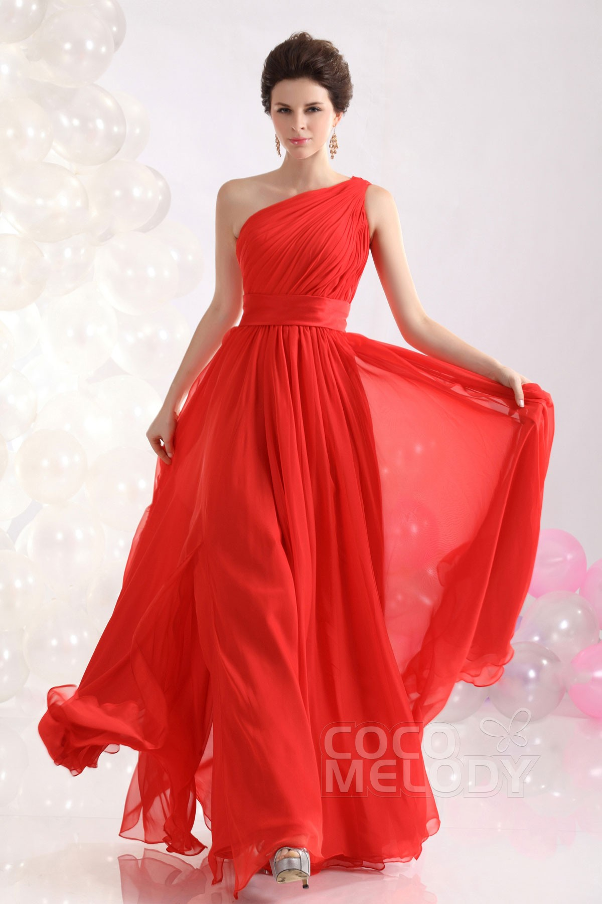 Sheath-Column One Shoulder Floor Length Chiffon Evening Dress ...