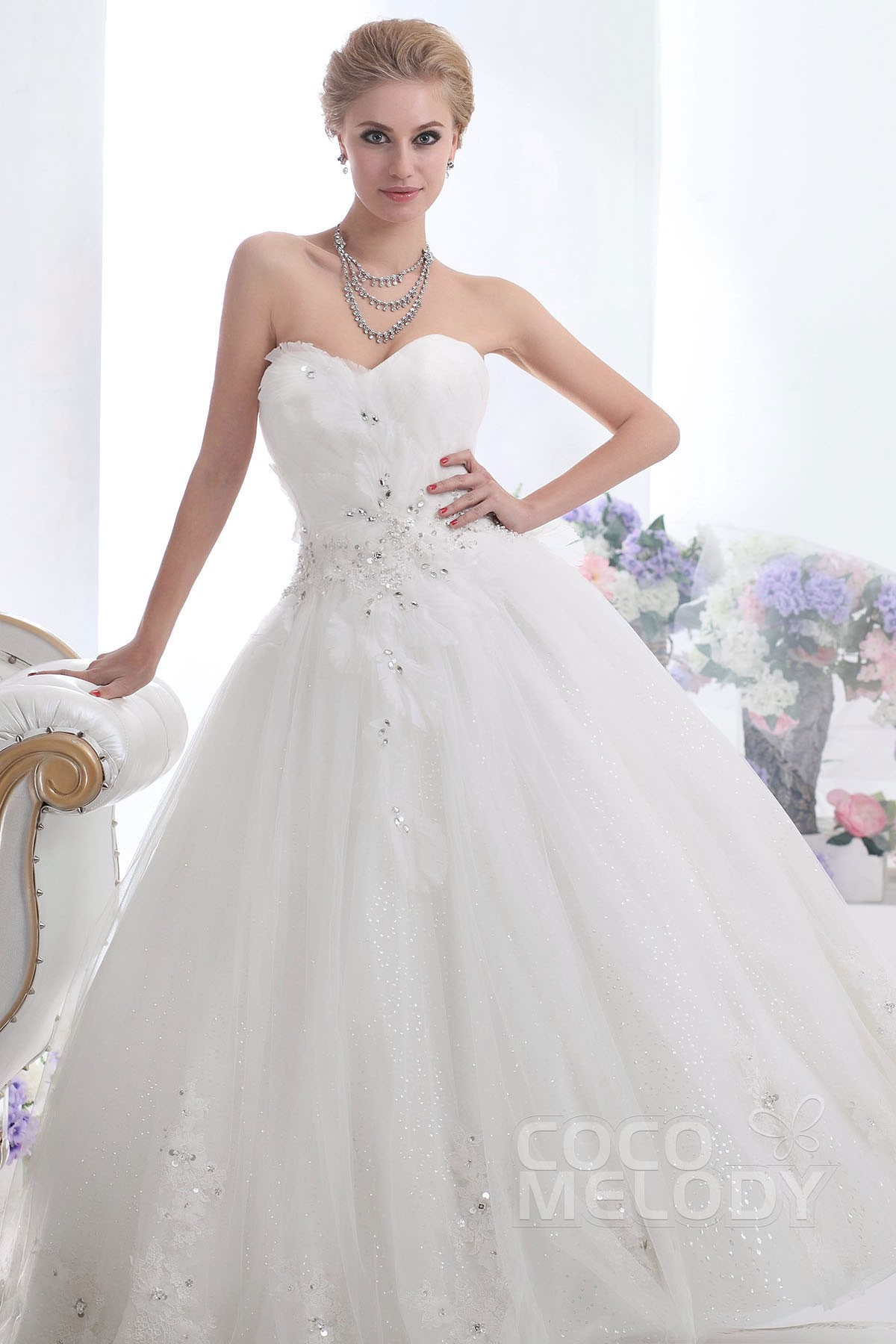 Ball Gown Floor Length Tulle Wedding Dress CWLF13015 | Cocomelody