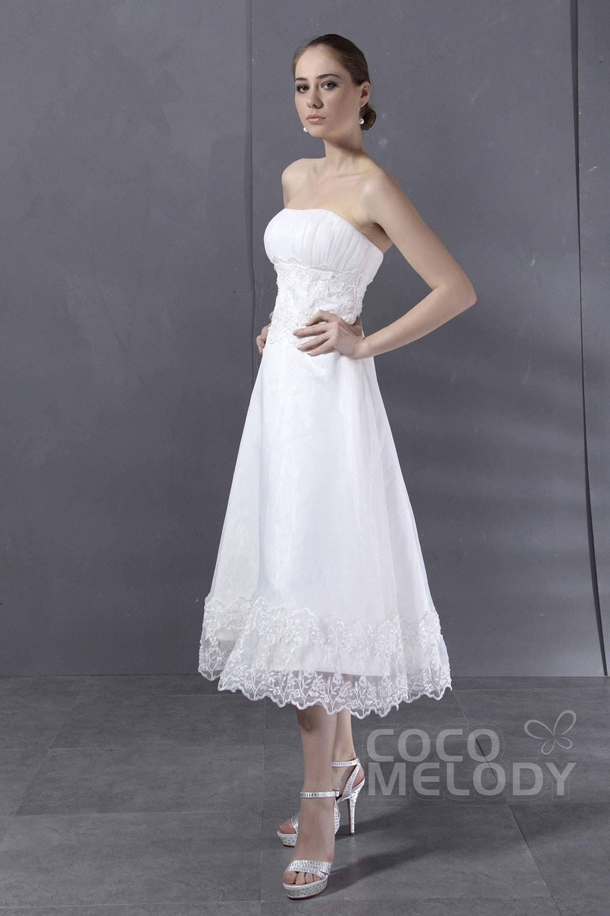 Cocomelody: A-Line Strapless Tea Length Organza Sleeveless Wedding ...
