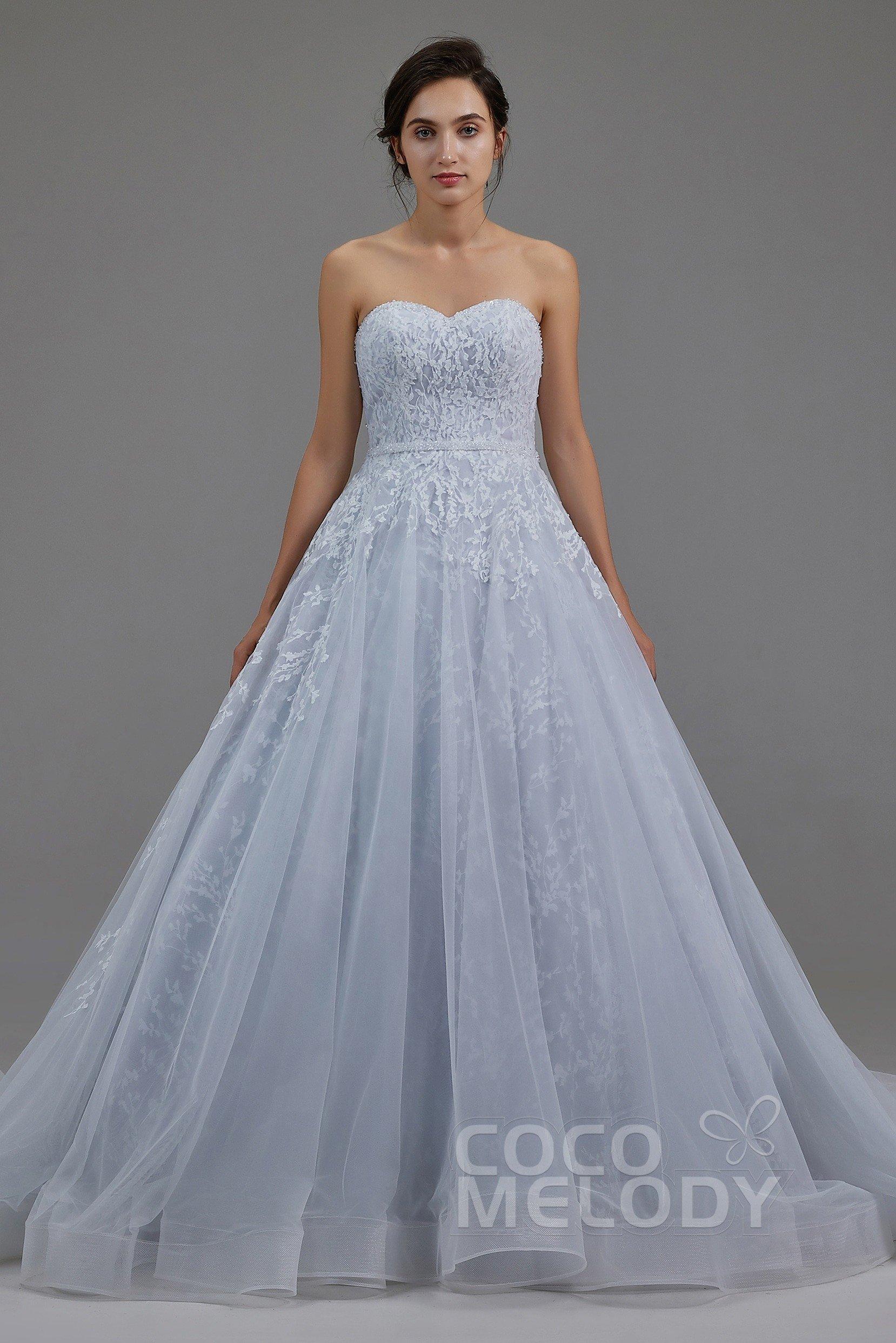 ff4d44d420ee7 A-Line Chapel Train Tulle Wedding Dress LD5054