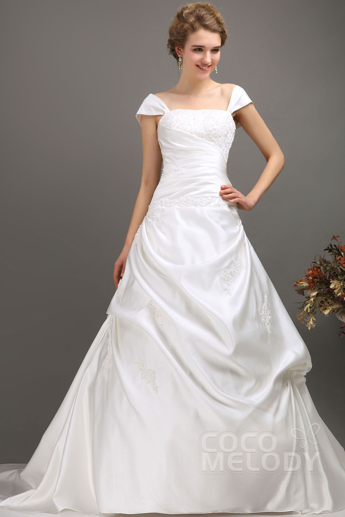 cocomelody a line off the shoulder chapel train satin wedding dress