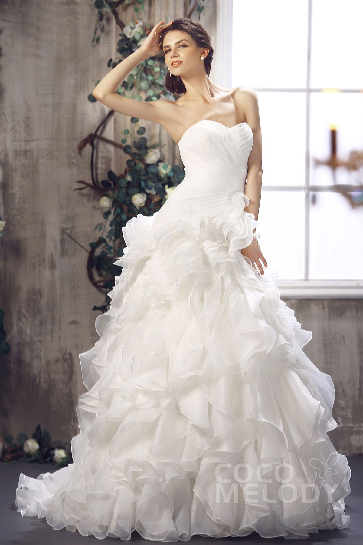 Cute A Line Sweetheart Court Train Ivory Organza Wedding Dress With Ruffles  CWLT1301A