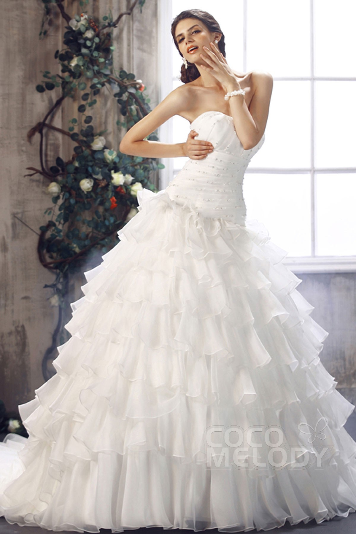 Princess Chapel Train Organza Wedding Dress CWLT1301E ...