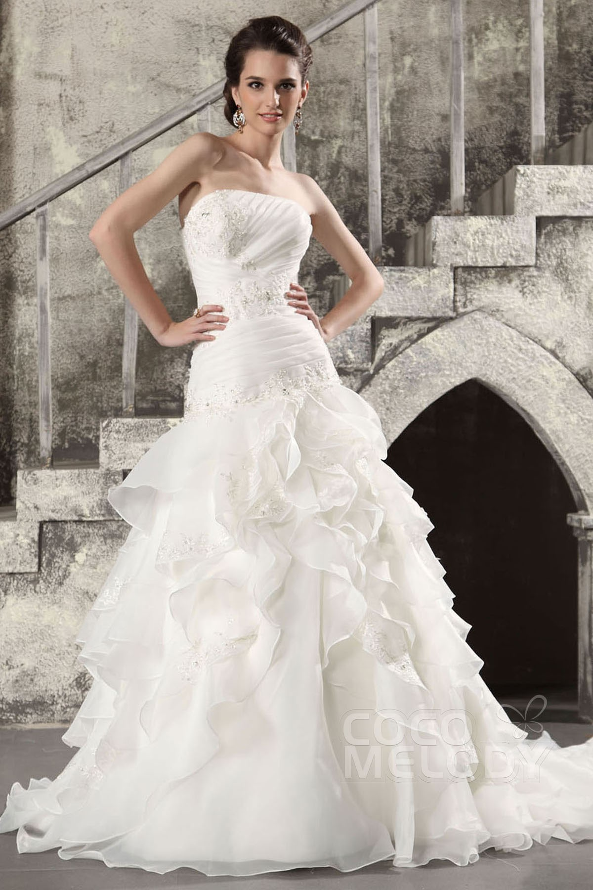 Cocomelody: A-Line Dropped Chapel Train Organza Wedding Dress Tiered ...