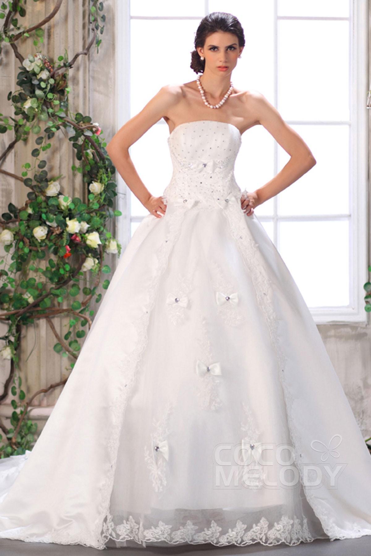 Ball Gown Chapel Train Organza Wedding Dress CWUT13002 | Cocomelody