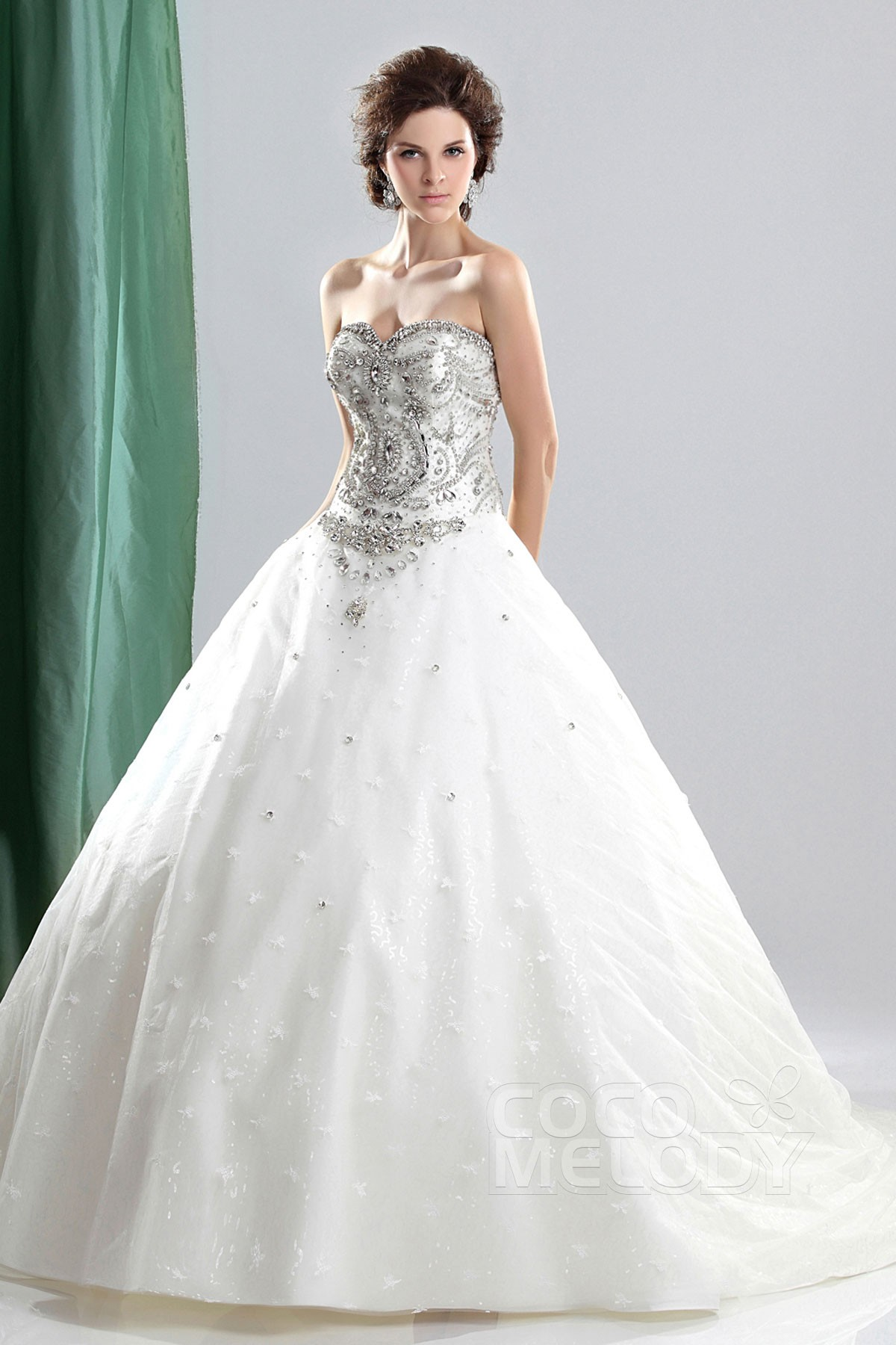 Ball Gown Court Train Organza Wedding Dress CWLT13043   Cocomelody
