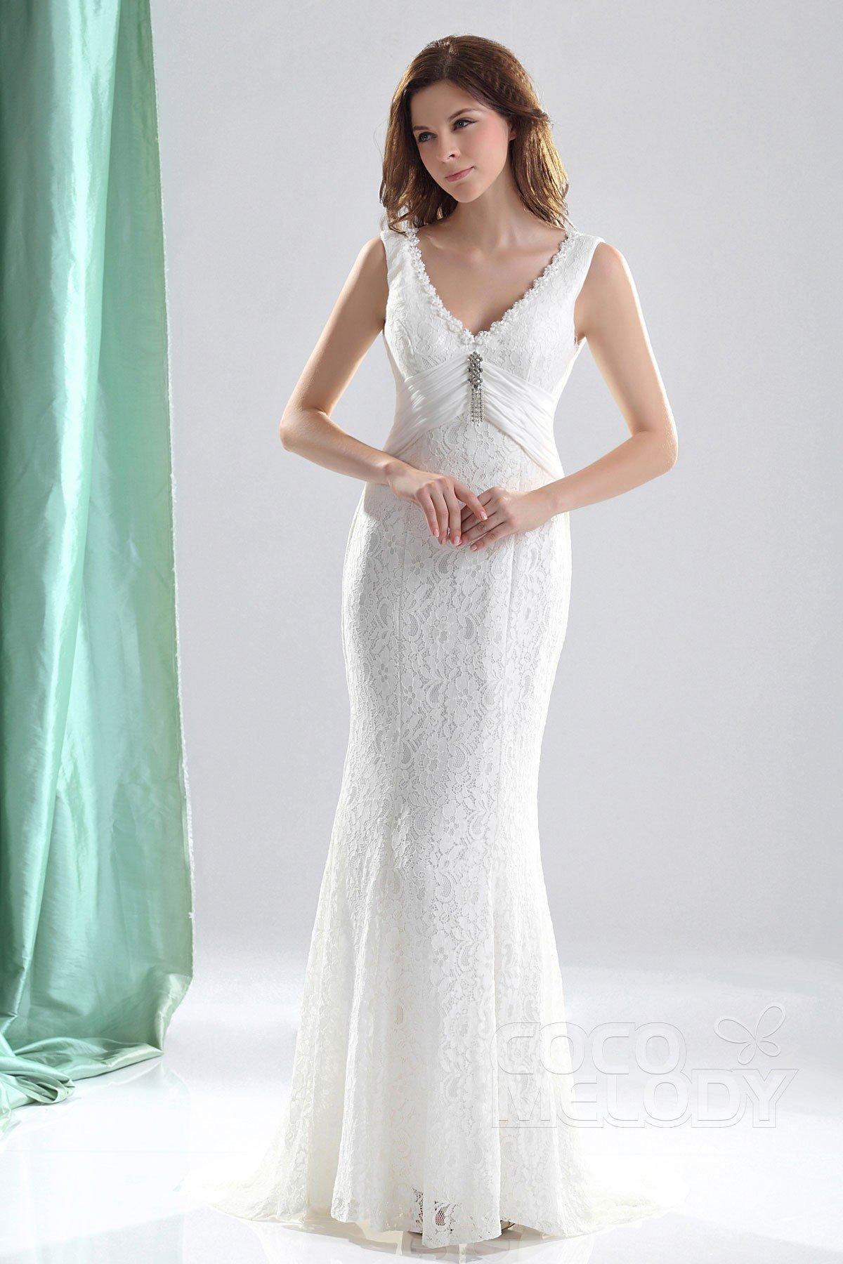 Sheath-Column Train Lace Wedding Dress CWLT13052 | Cocomelody