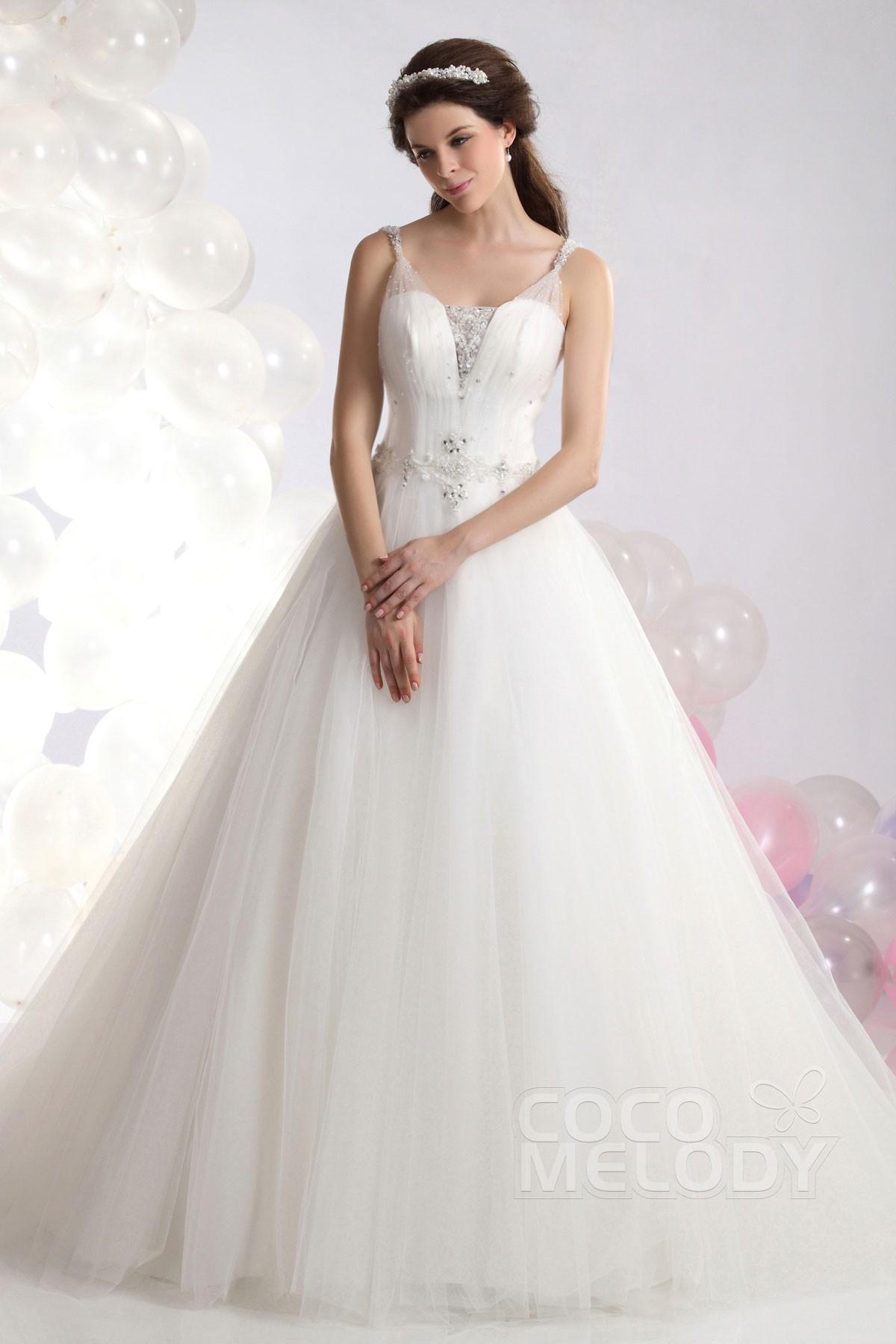 Cocomelody: A-Line Spaghetti Strap Chapel Train Tulle Wedding Dress ...