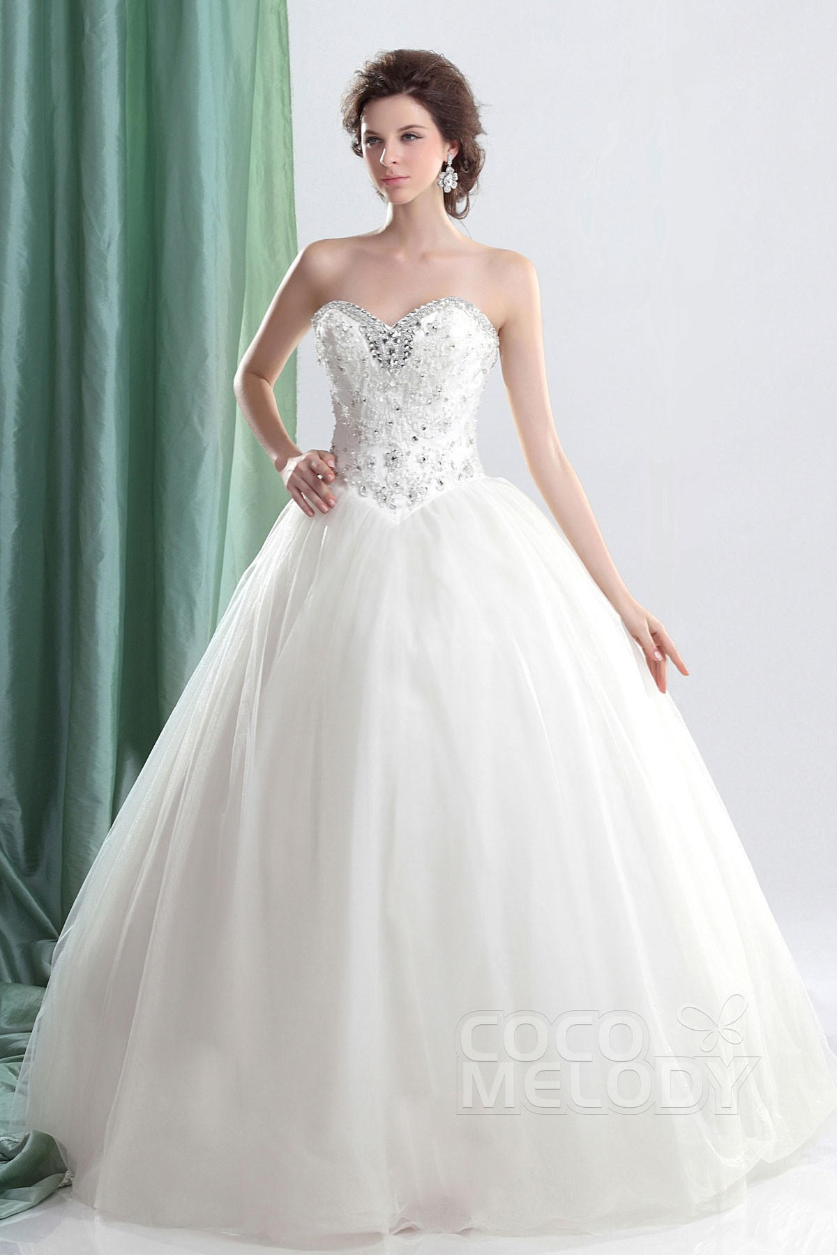Ball Gown Floor Length Tulle Wedding Dress CWLF13008 | Cocomelody