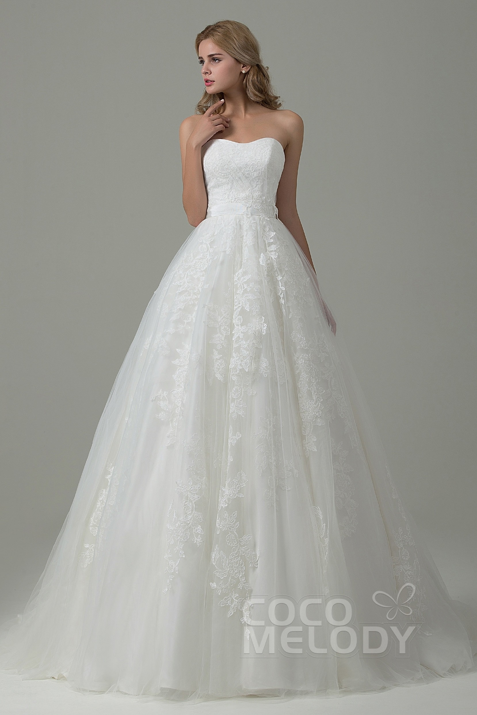 A-Line Sweetheart Tulle Lace Wedding Dress B14E3A024 | Cocomelody