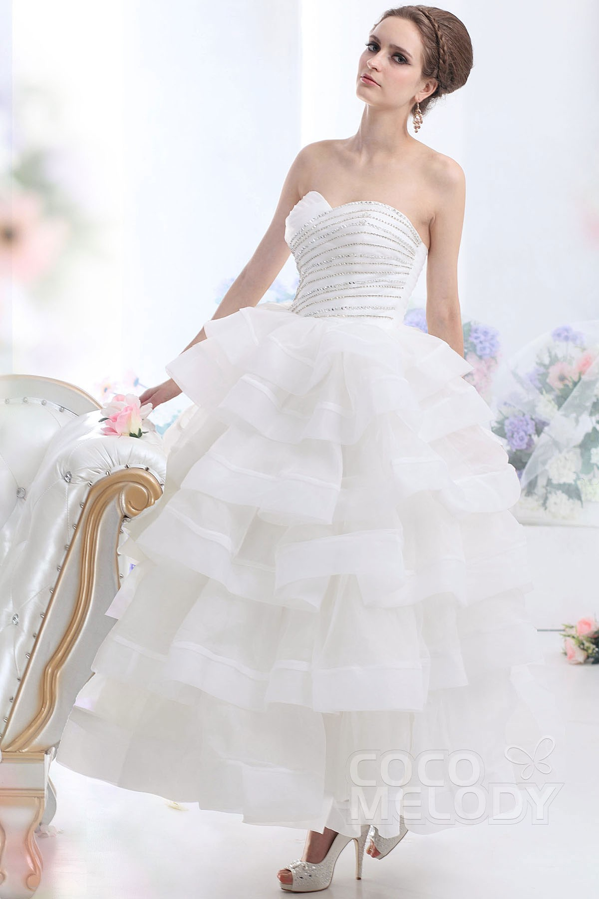 Ball Gown Ankle Length Organza Wedding Dress CWUA13001 | Cocomelody