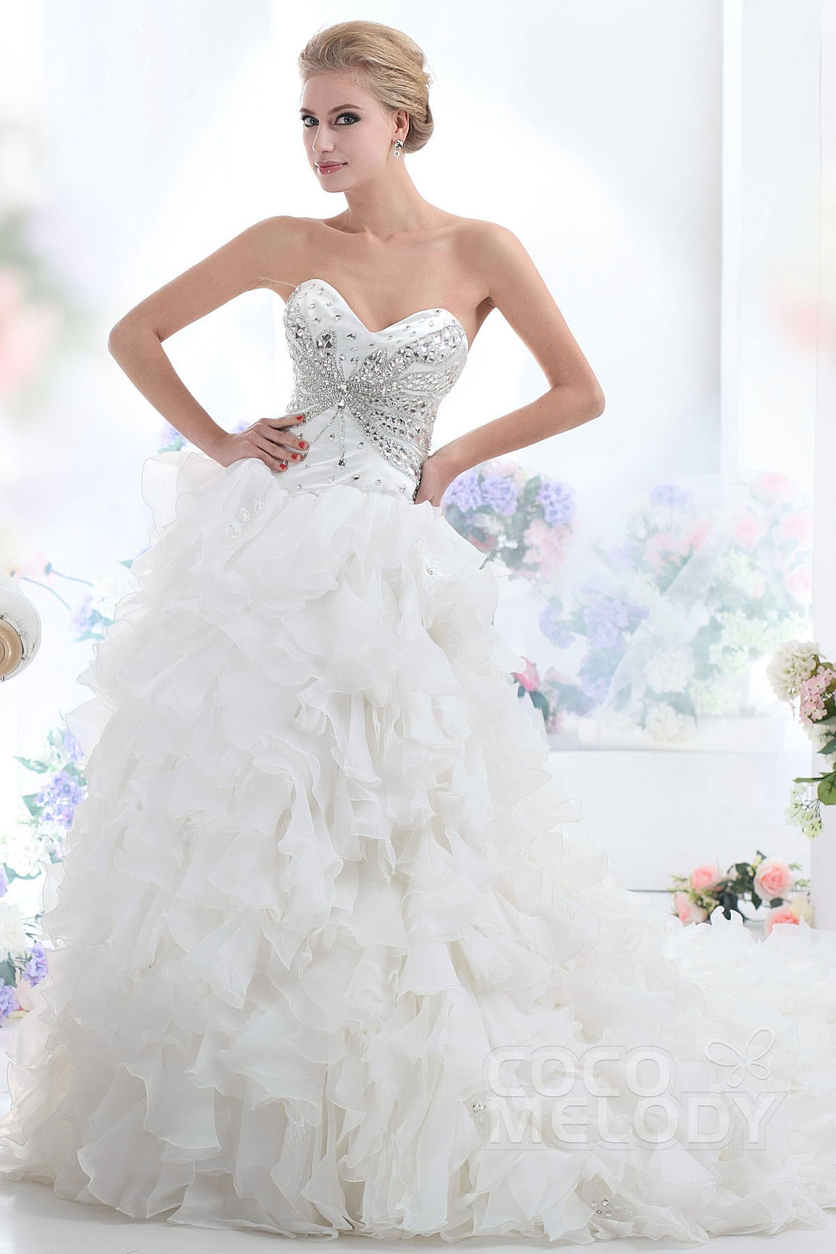 Ball Gown Cathedral Train Organza Wedding Dress CWLT1303E | Cocomelody