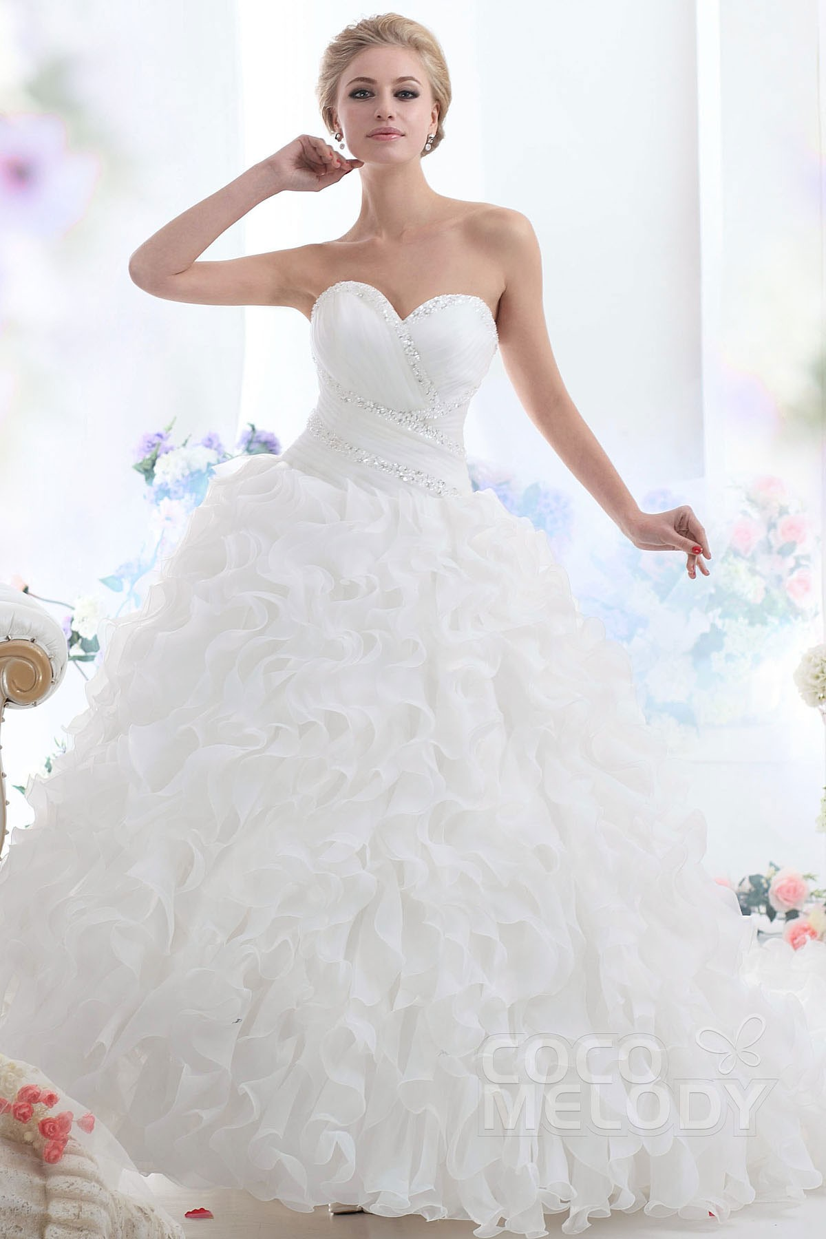 Ball Gown Cathedral Train Organza Wedding Dress CWLT13046 | Cocomelody