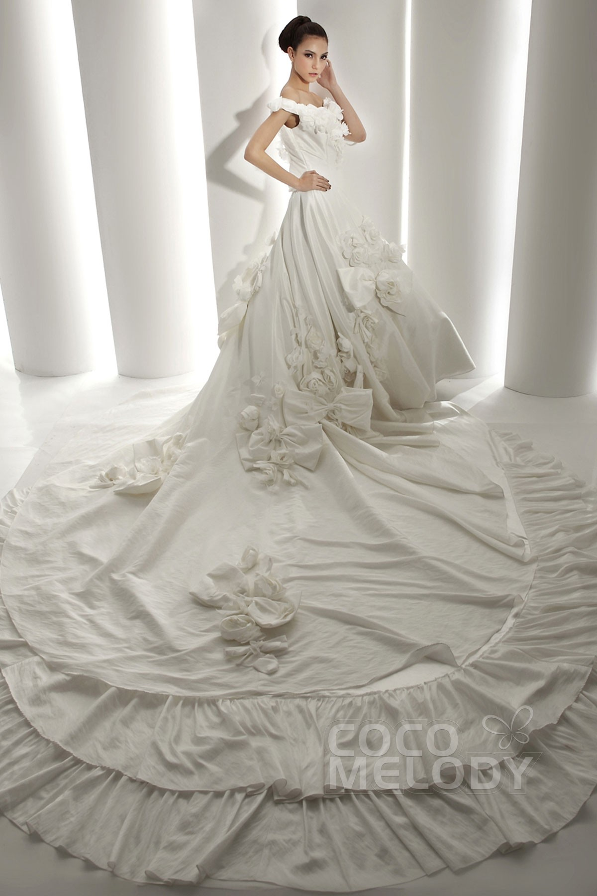 cocomelody a line off the shoulder cathedral train taffeta wedding