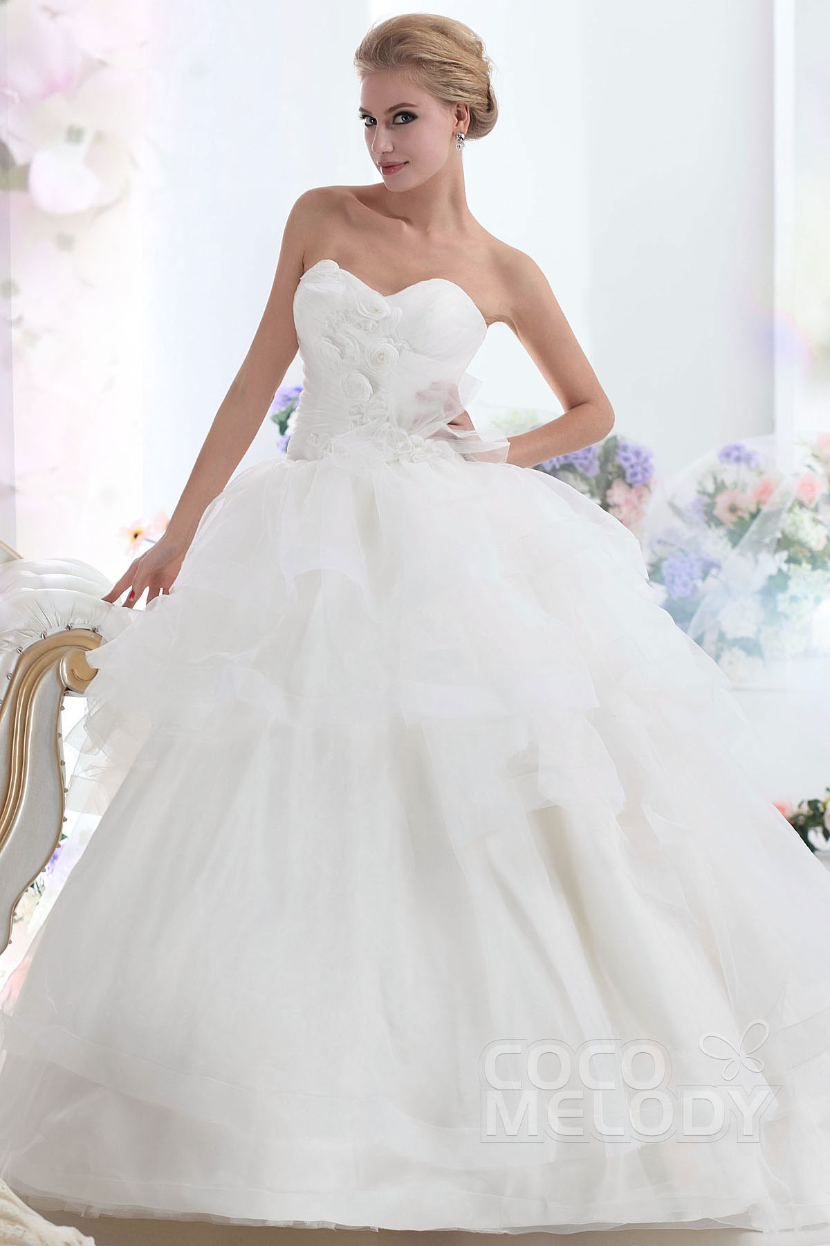 Ball Gown Chapel Train Organza Wedding Dress CWLT1303B | Cocomelody