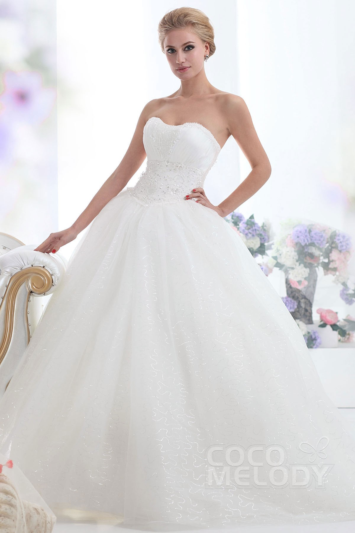 Cocomelody: Ball Gown Sweetheart Chapel Train Tulle Wedding Dress ...