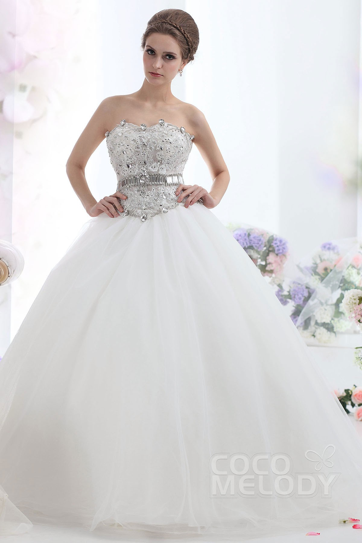 Cocomelody: Ball Gown Sweetheart Dropped Court Train Tulle Wedding ...