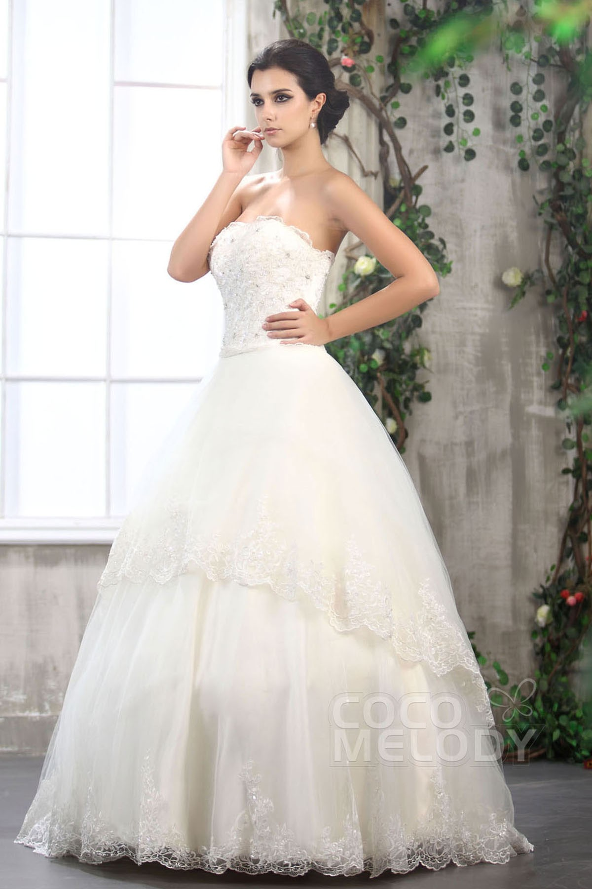 Cocomelody: A-Line Strapless Floor Length Tulle Sleeveless Wedding ...