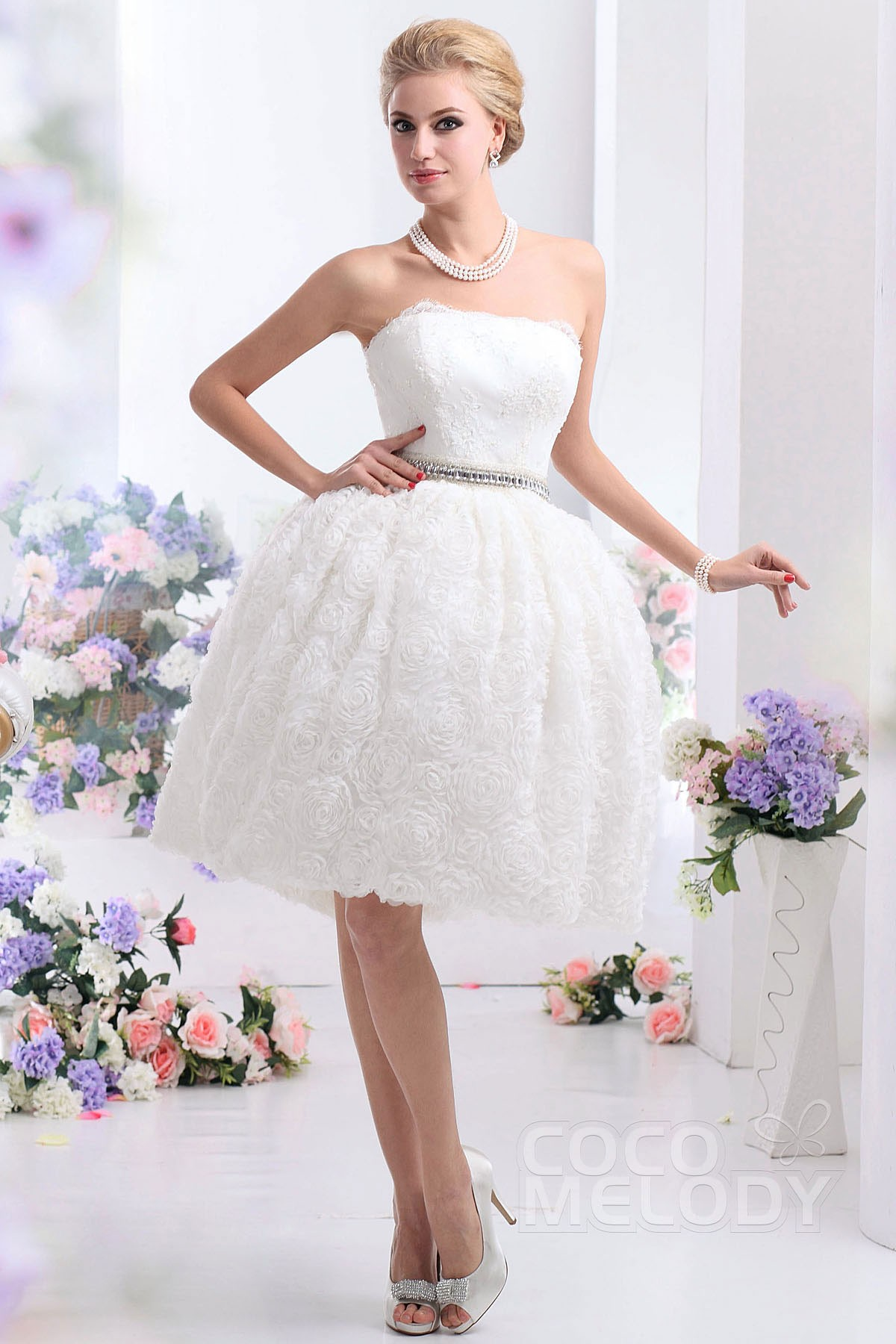 Cocomelody: Ball Gown Strapless Knee Length Organza Wedding Dress ...