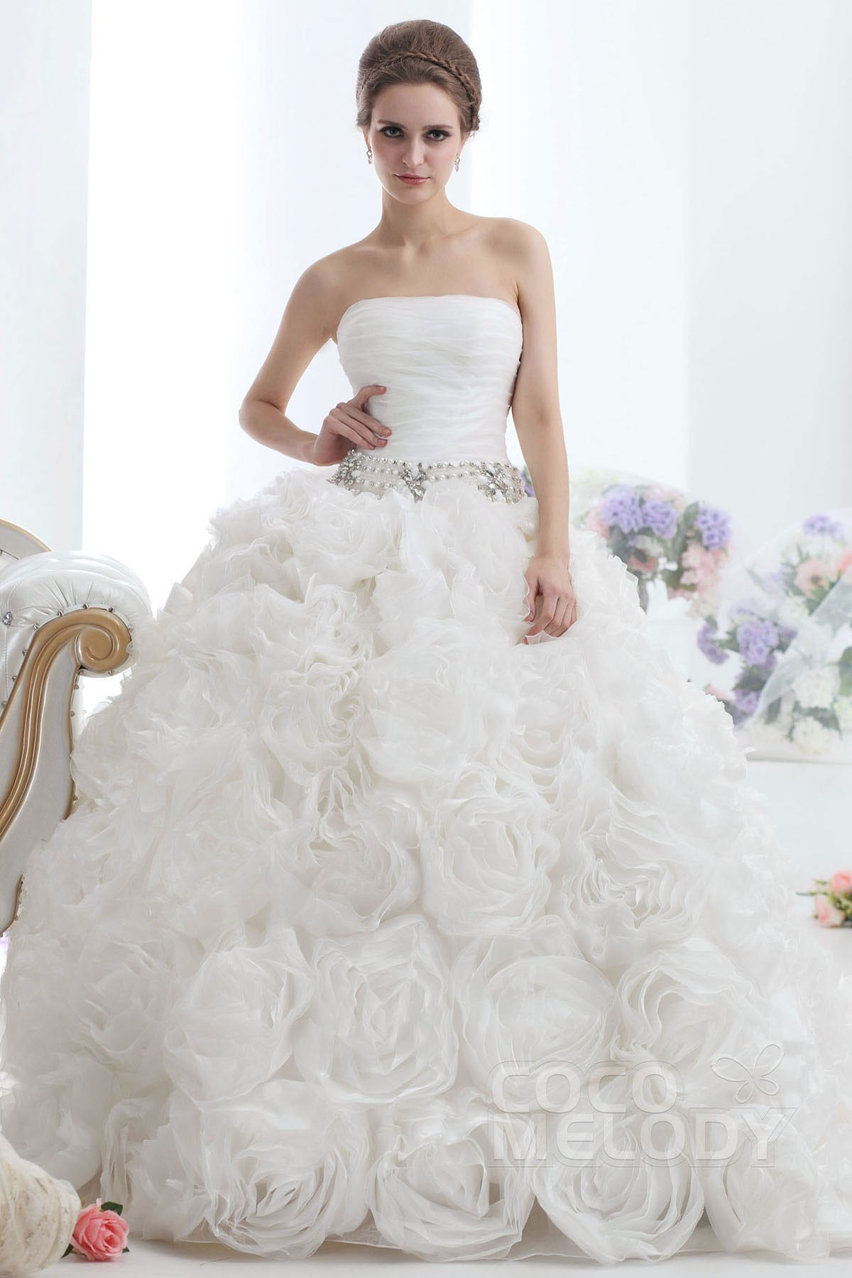 Ball Gown Cathedral Train Organza Wedding Dress CWLT1306A | Cocomelody