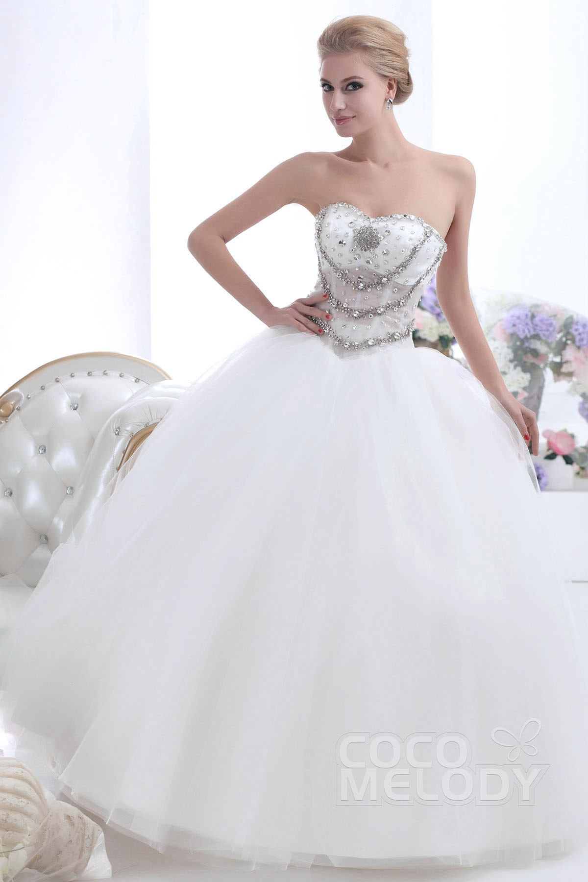 Ball Gown Floor Length Tulle Wedding Dress CWUF13002   Cocomelody
