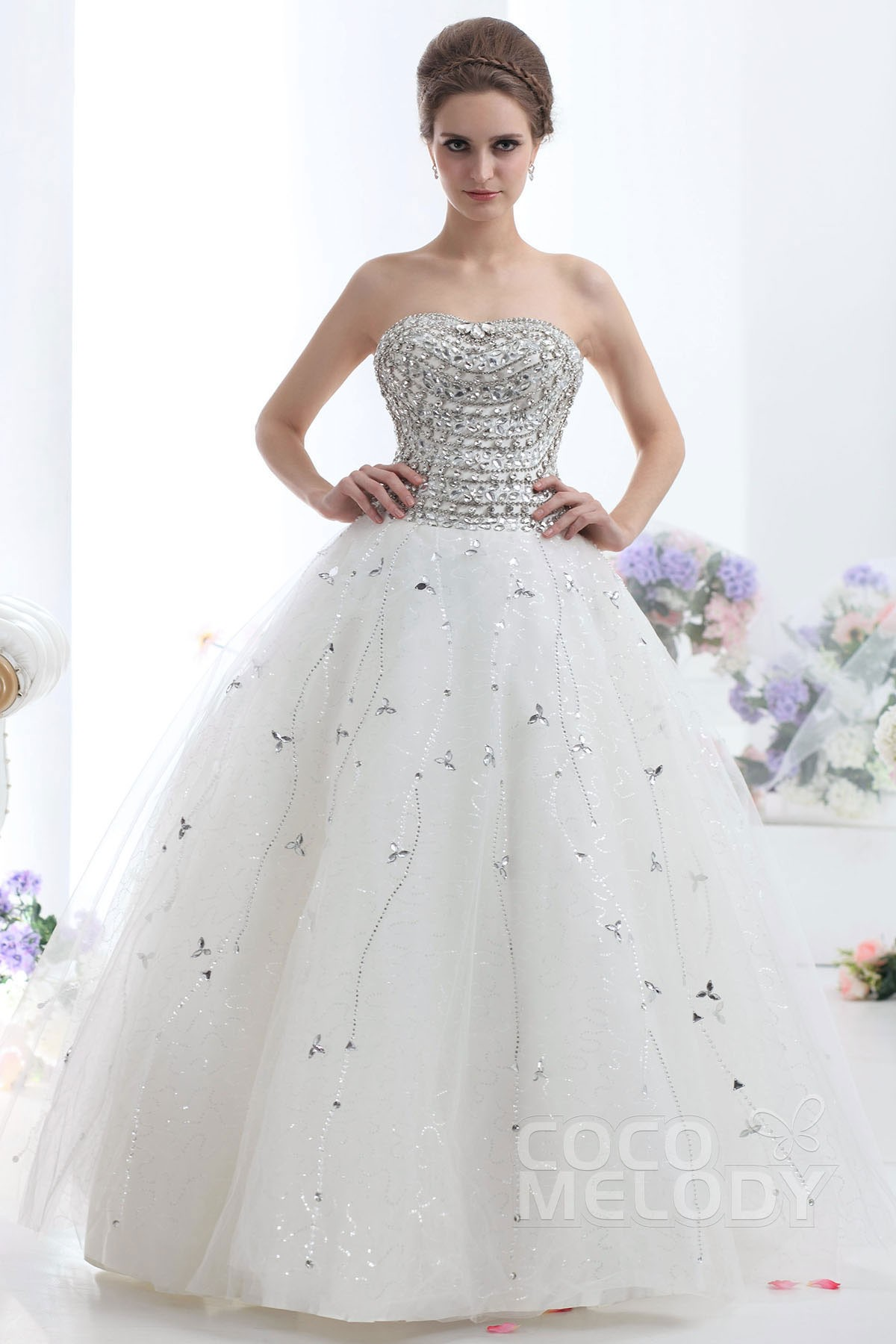 Ball Gown Floor Length Tulle Wedding Dress CWUF13005   Cocomelody