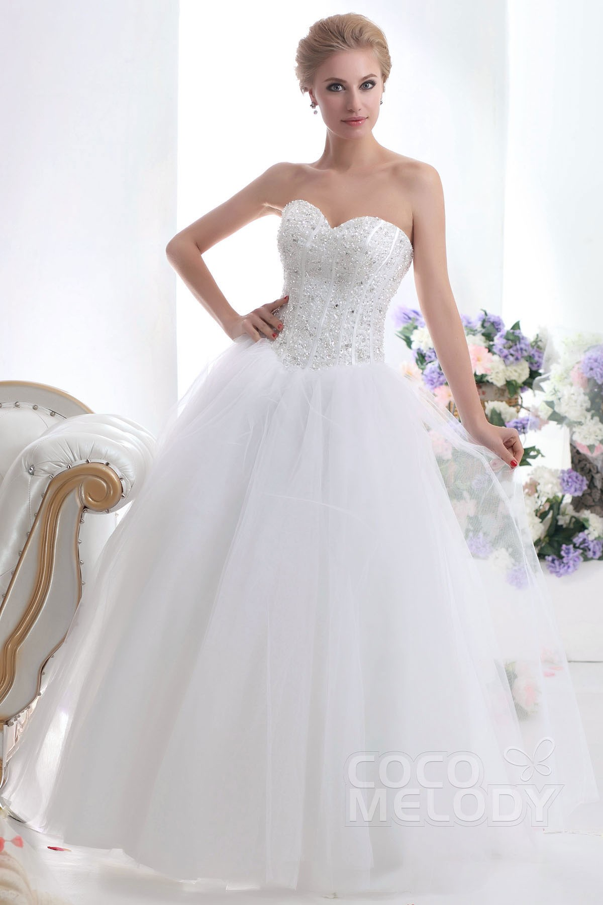 Ball Gown Floor Length Tulle Wedding Dress CWUF13001   Cocomelody