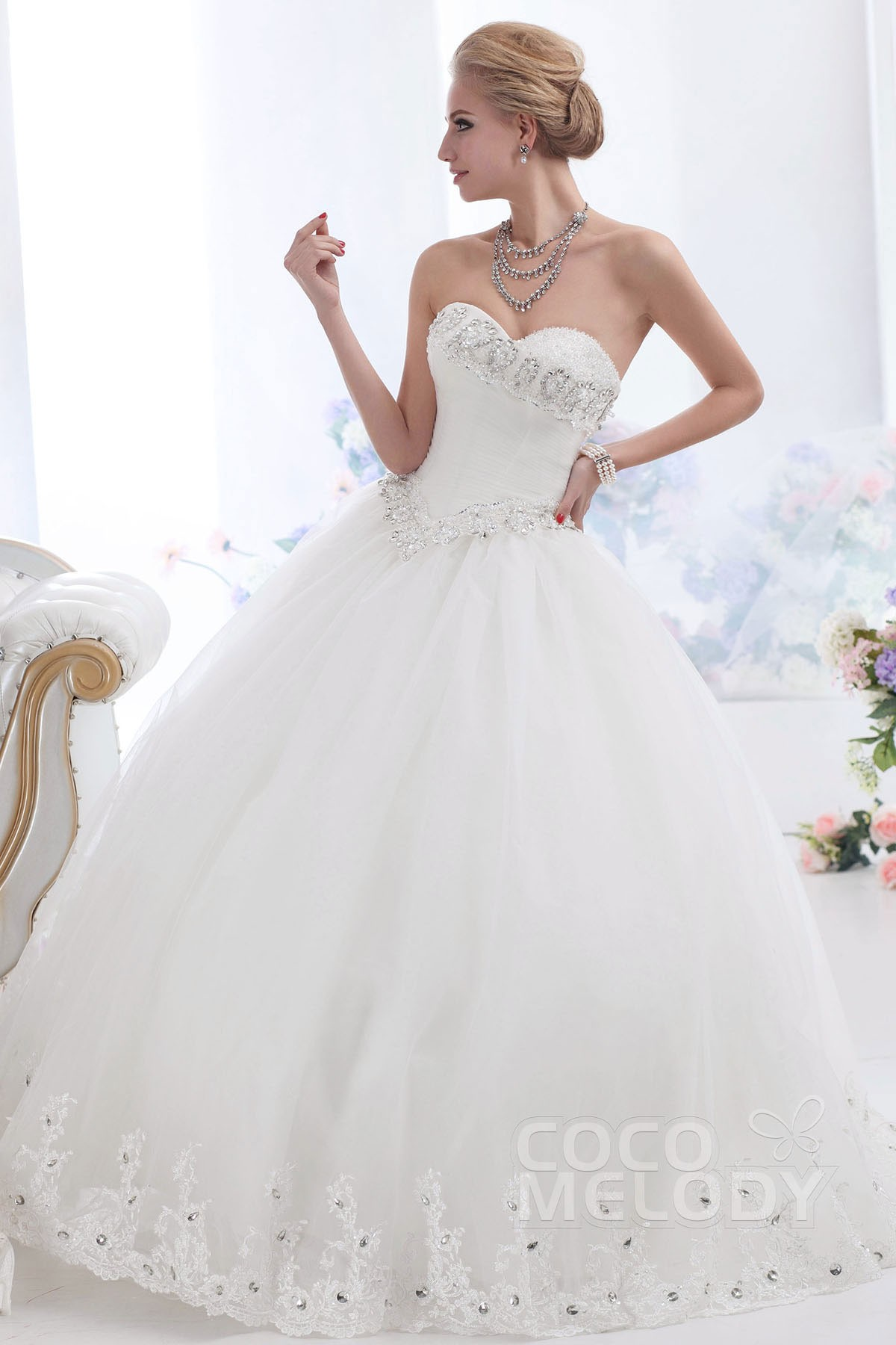 Ball Gown Floor Length Tulle Wedding Dress CWUF13003 | Cocomelody