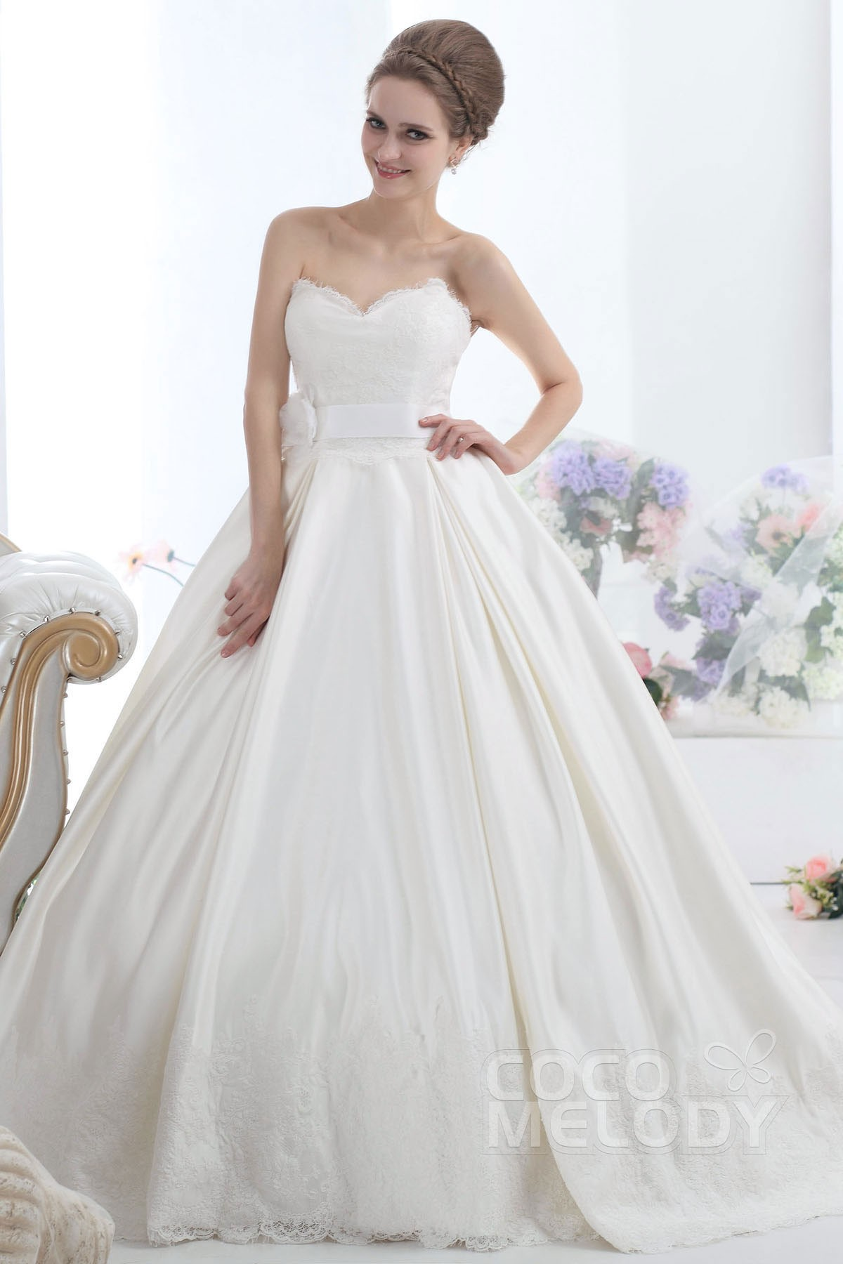 Princess Cathedral Train Satin Wedding Dress CWLT13038 | Cocomelody