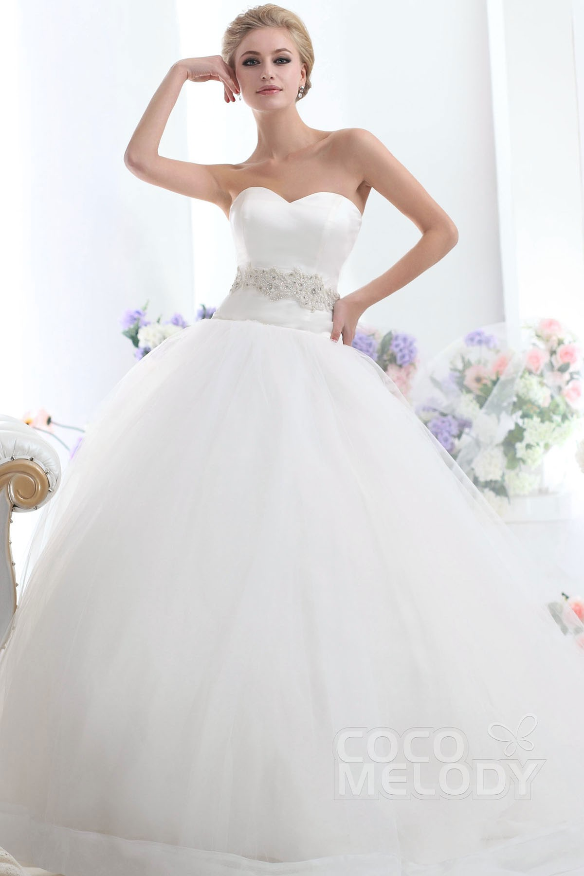 Ball Gown Chapel Train Tulle Wedding Dress CWLT1303C | Cocomelody