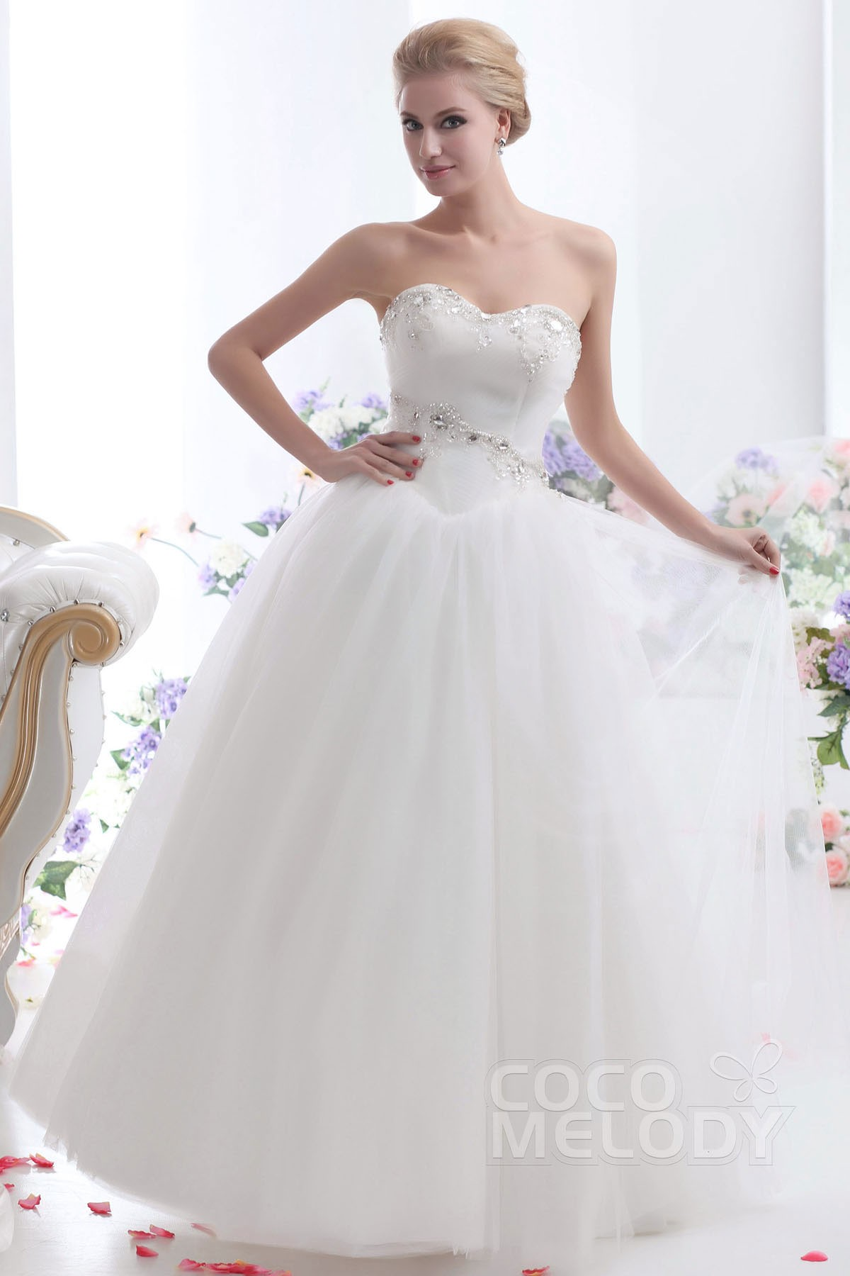 Cocomelody: Ball Gown Sweetheart Floor Length Tulle Wedding Dress ...