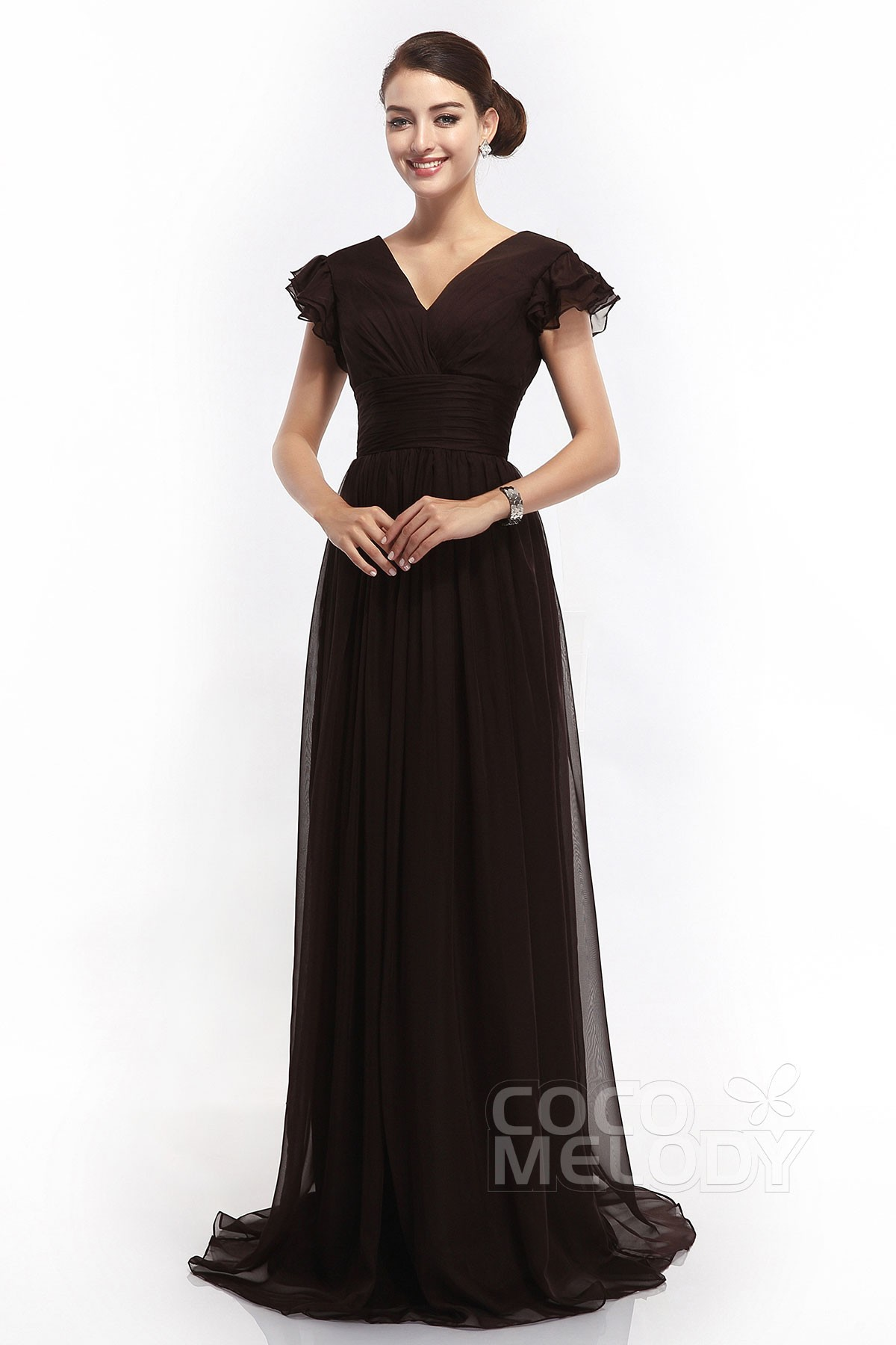 1db0d5d6ebb Sheath-Column V-Neck Sweep-Brush Train Chiffon Cap Sleeve Open Back Mother