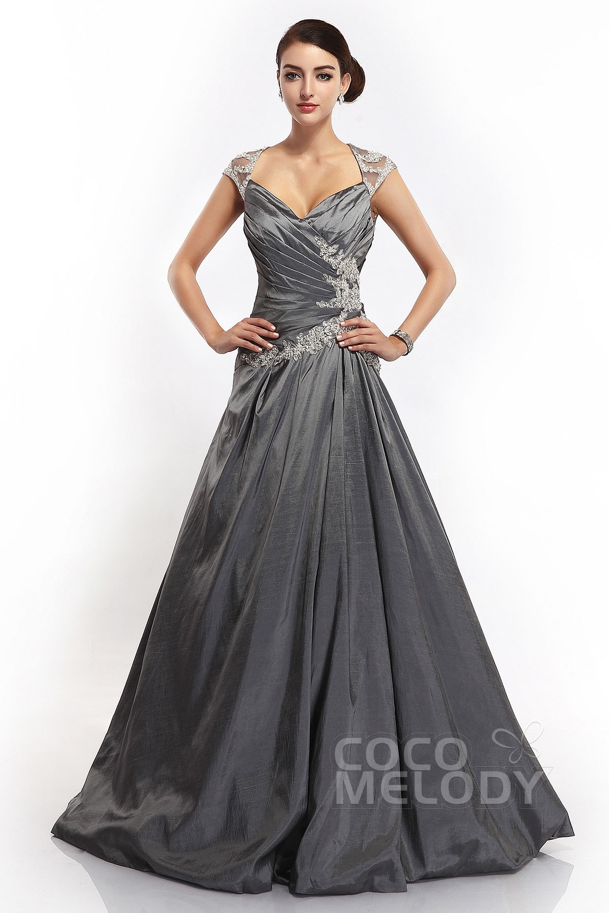 A-Line V-Neck Sweep-Brush Train Taffeta Zipper Evening Dress ...