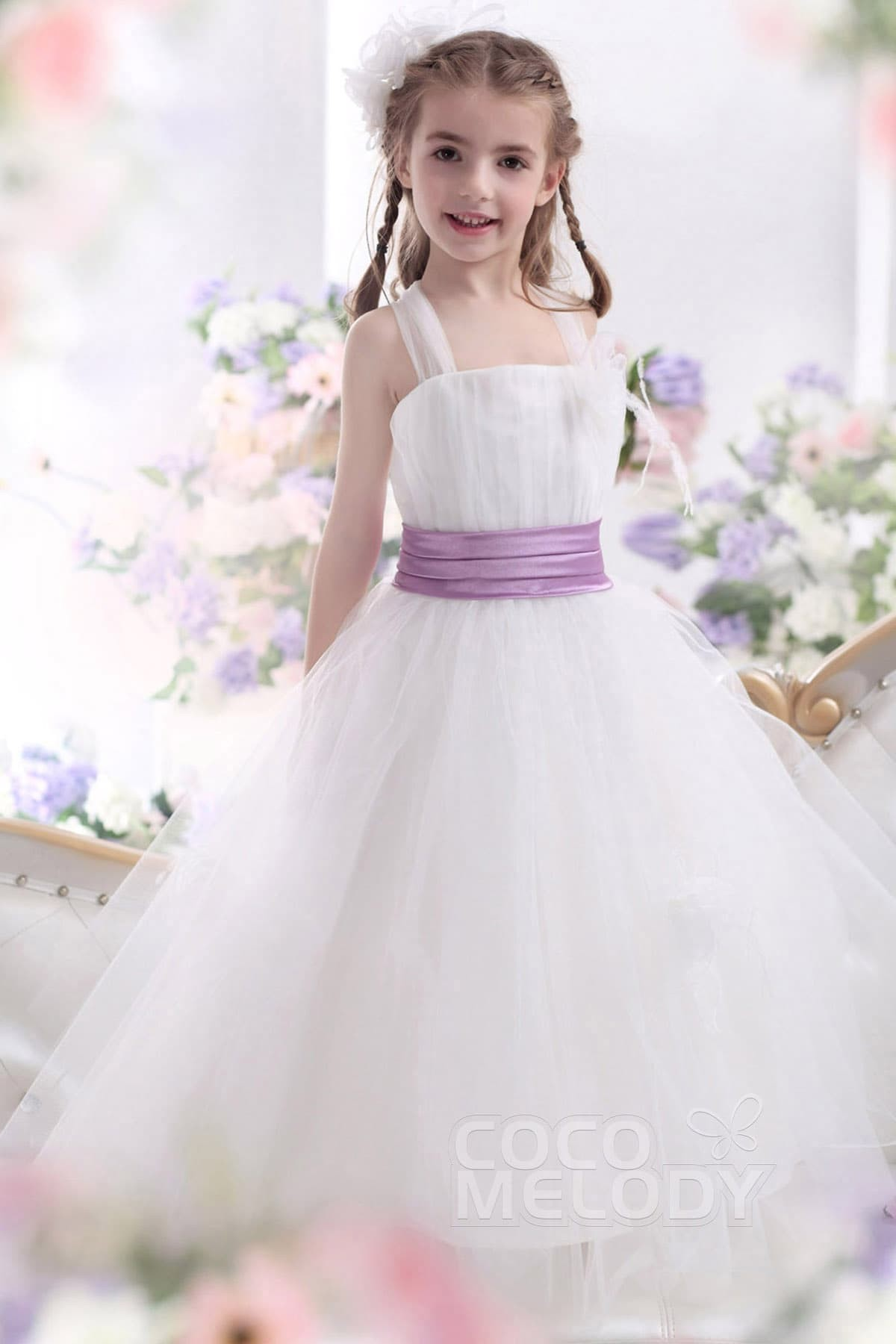 6ecd20133 A Line Straps Floor Length Tulle Girls Dress CKZA13008 | Cocomelody