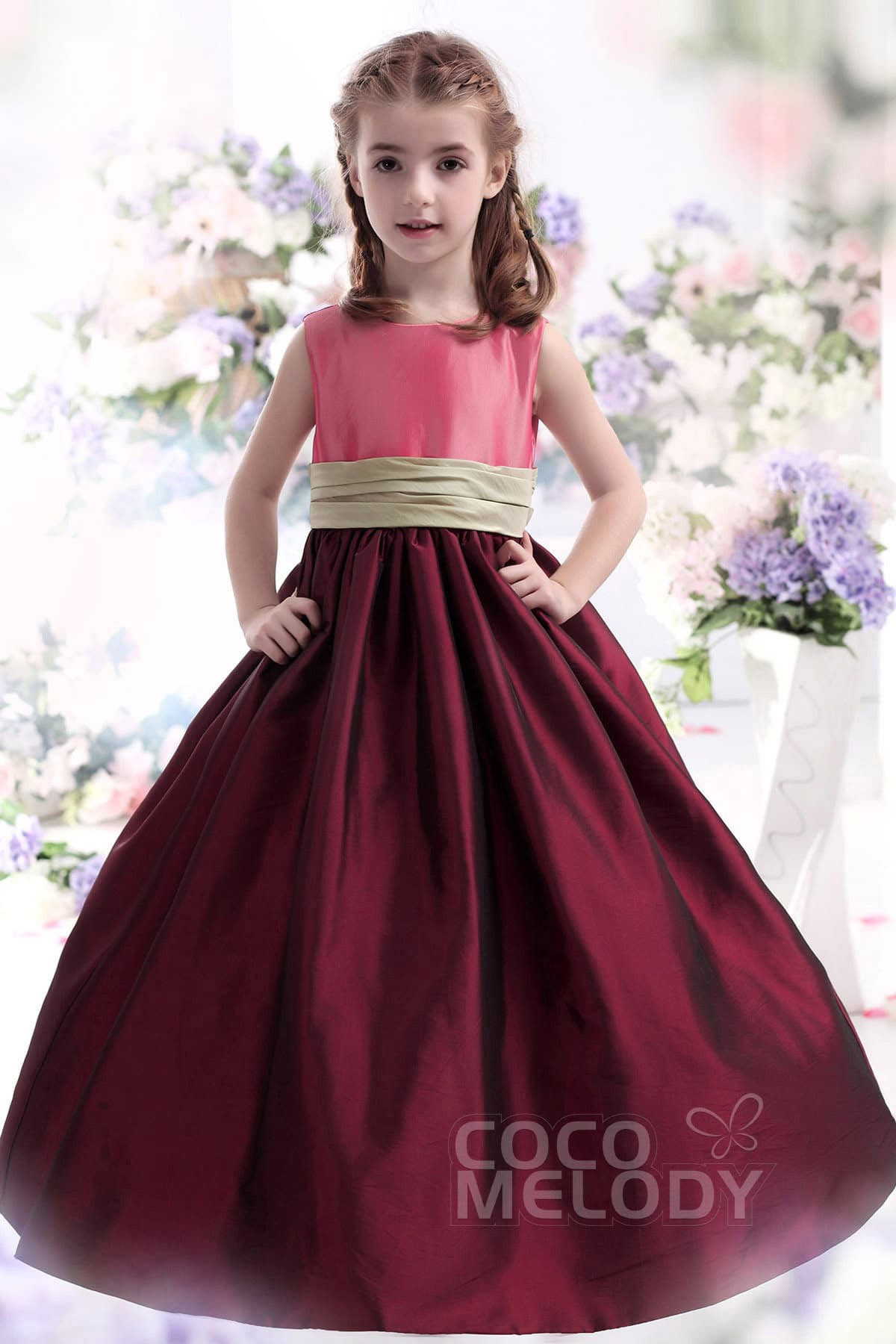 8e872a344 A-Line Floor Length Taffeta Dress CKZF13002