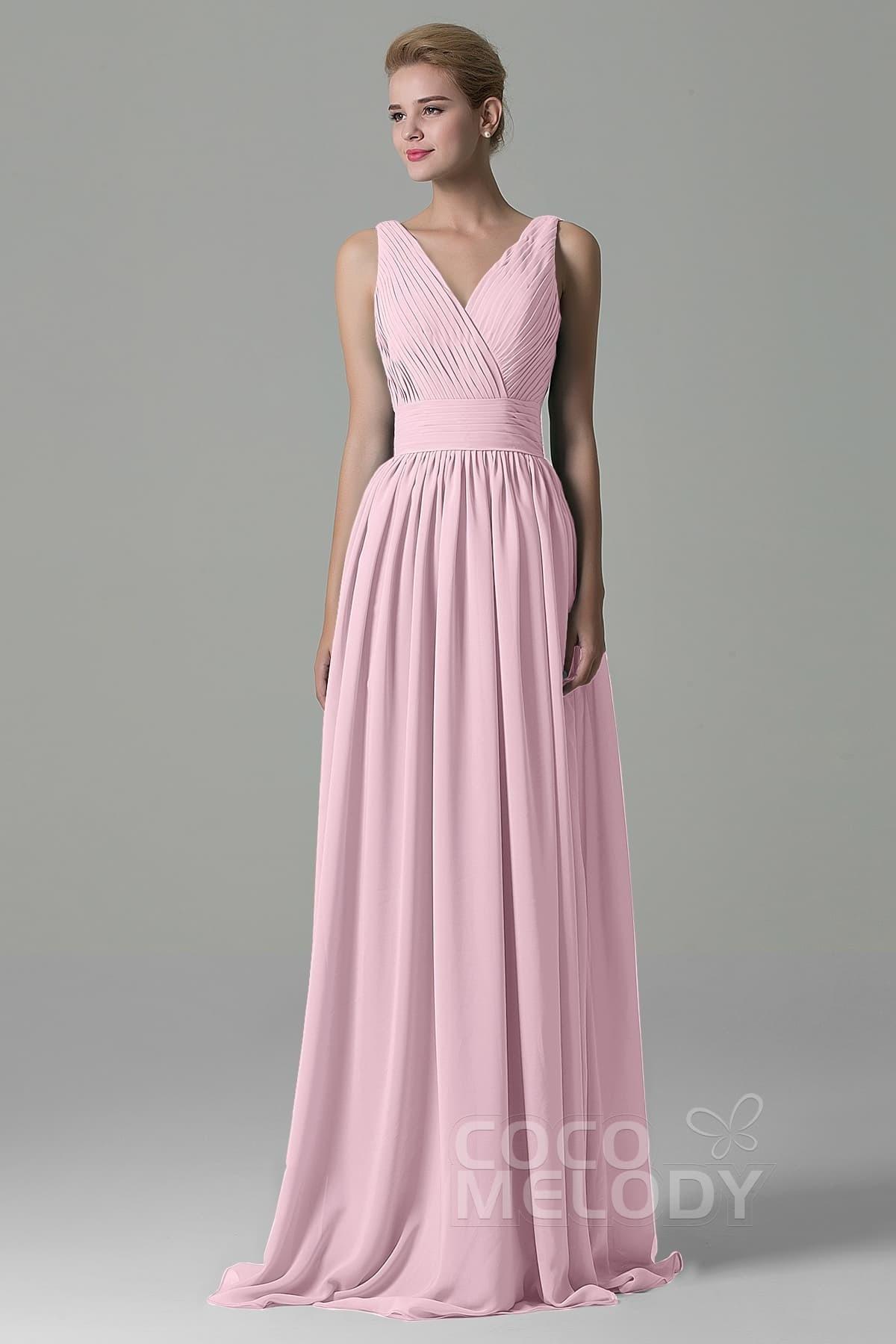 2938b448d1c Unique Sheath-Column V-Neck Natural Floor Length Chiffon Sleeveless Open  Back Bridesmaid Dress
