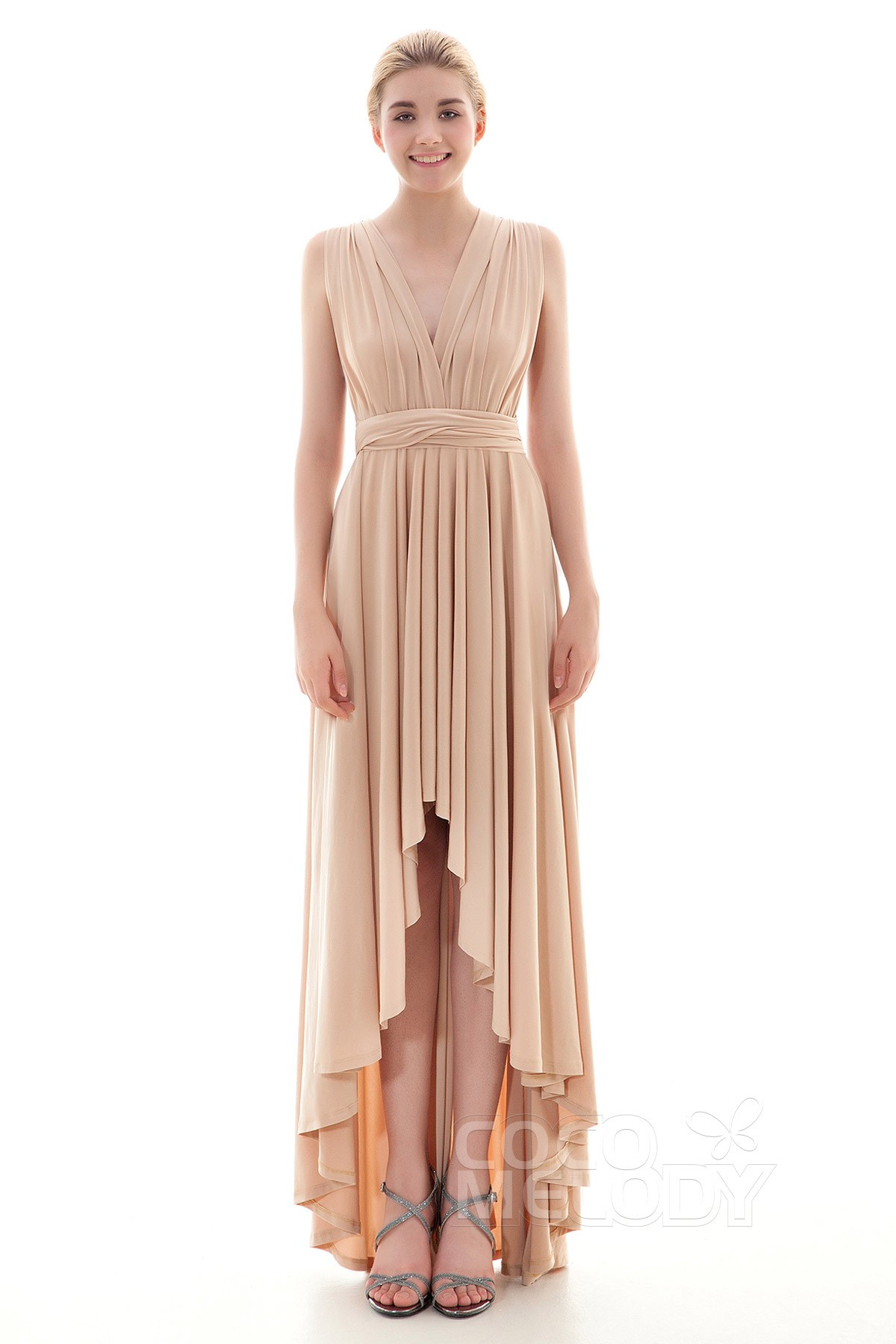 Asymmetrical Knitted Fabric Bridesmaid Dress COED16001 | Cocomelody