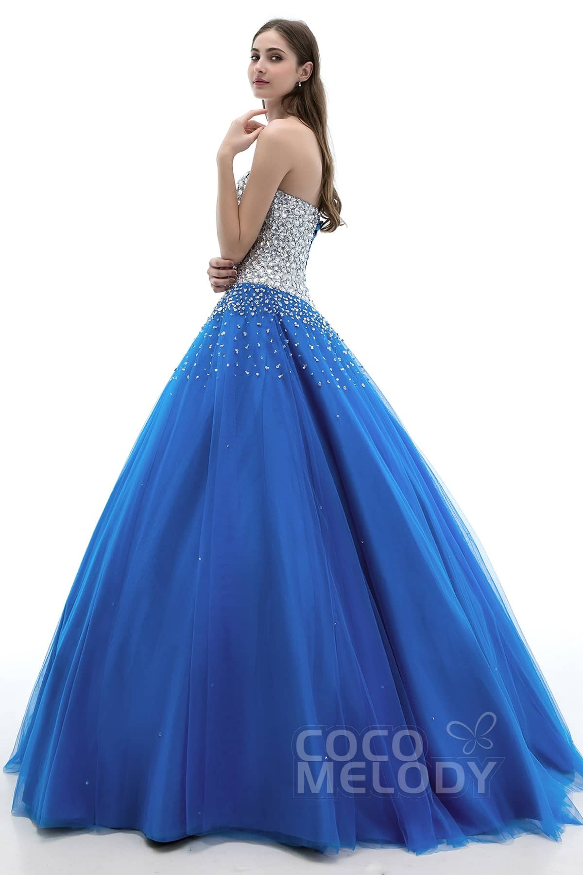 4f529cf16cce Charming Ball Gown Sweetheart Floor Length Tulle Lace-up Corset Quinceanera  Dress with Crystals COLF1400F