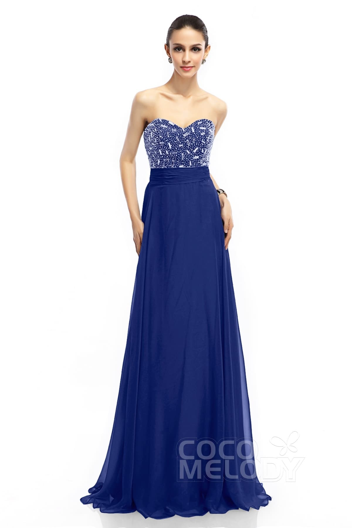 Sheath-Column Train Chiffon Evening Dresses COLT1400E | Cocomelody