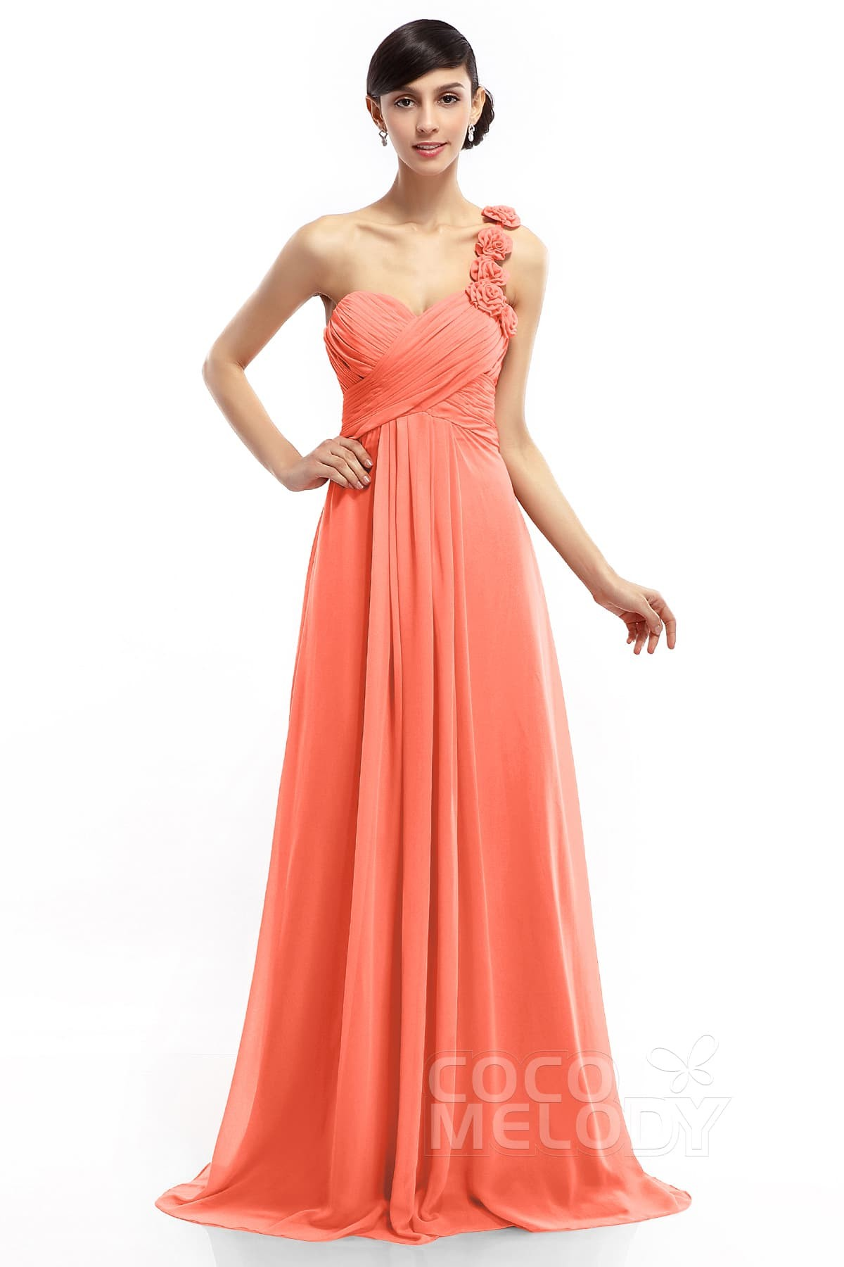 Sheath-Column One Shoulder Floor Length Dress COLT14017 | Cocomelody