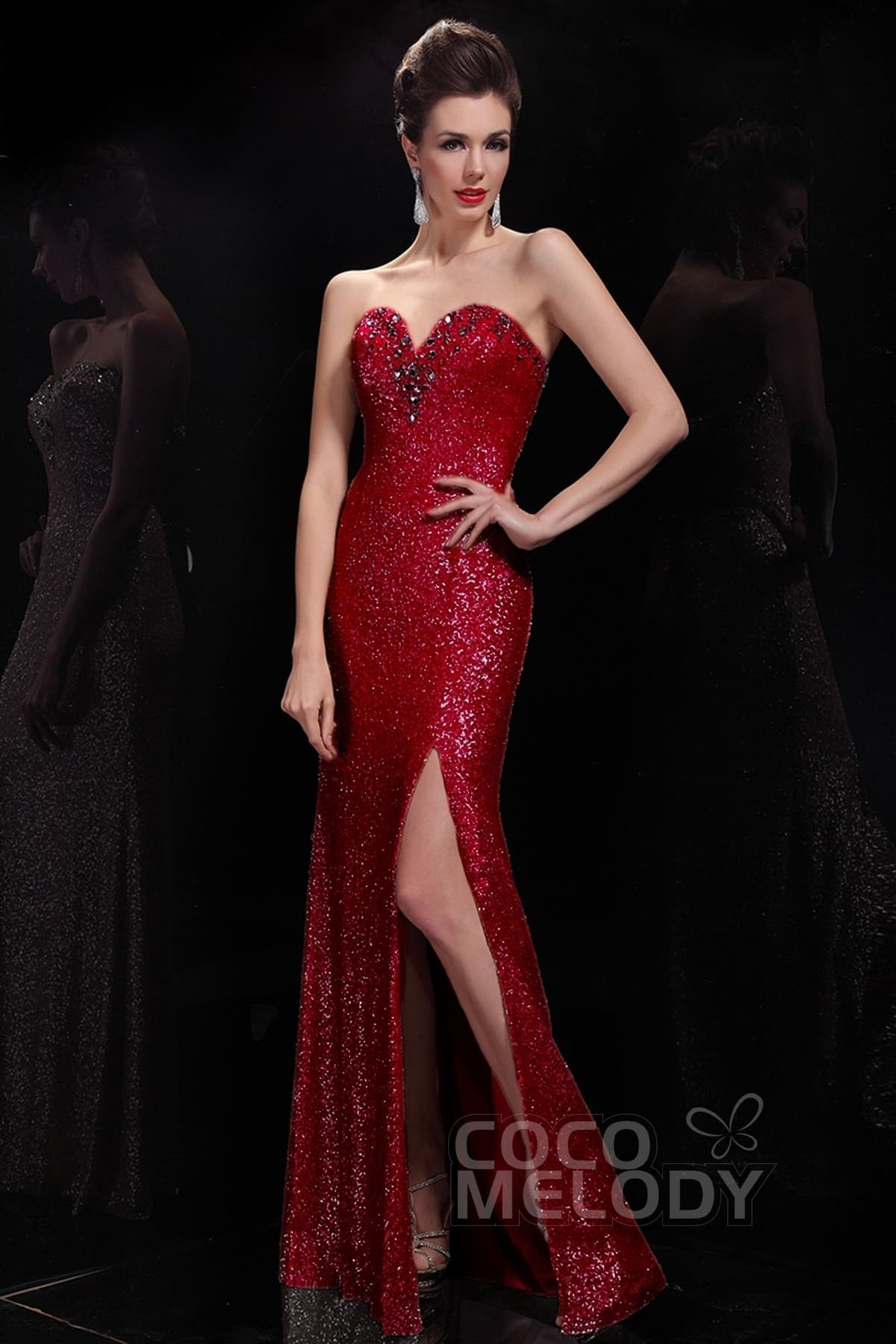 Sheath-Column Floor Length Evening Dress COSF1405A | Cocomelody