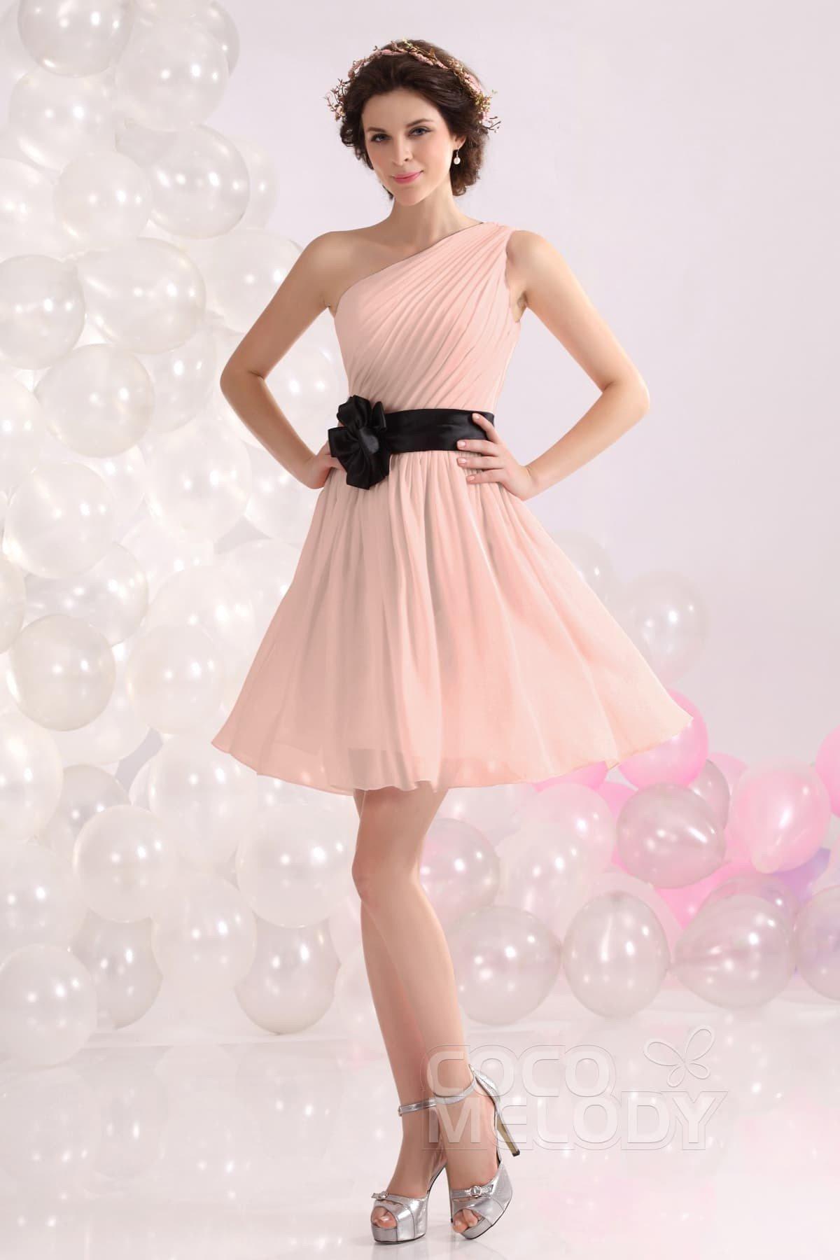 Cocomelody: A-Line One Shoulder Short-Mini Chiffon Bridesmaids Dress ...