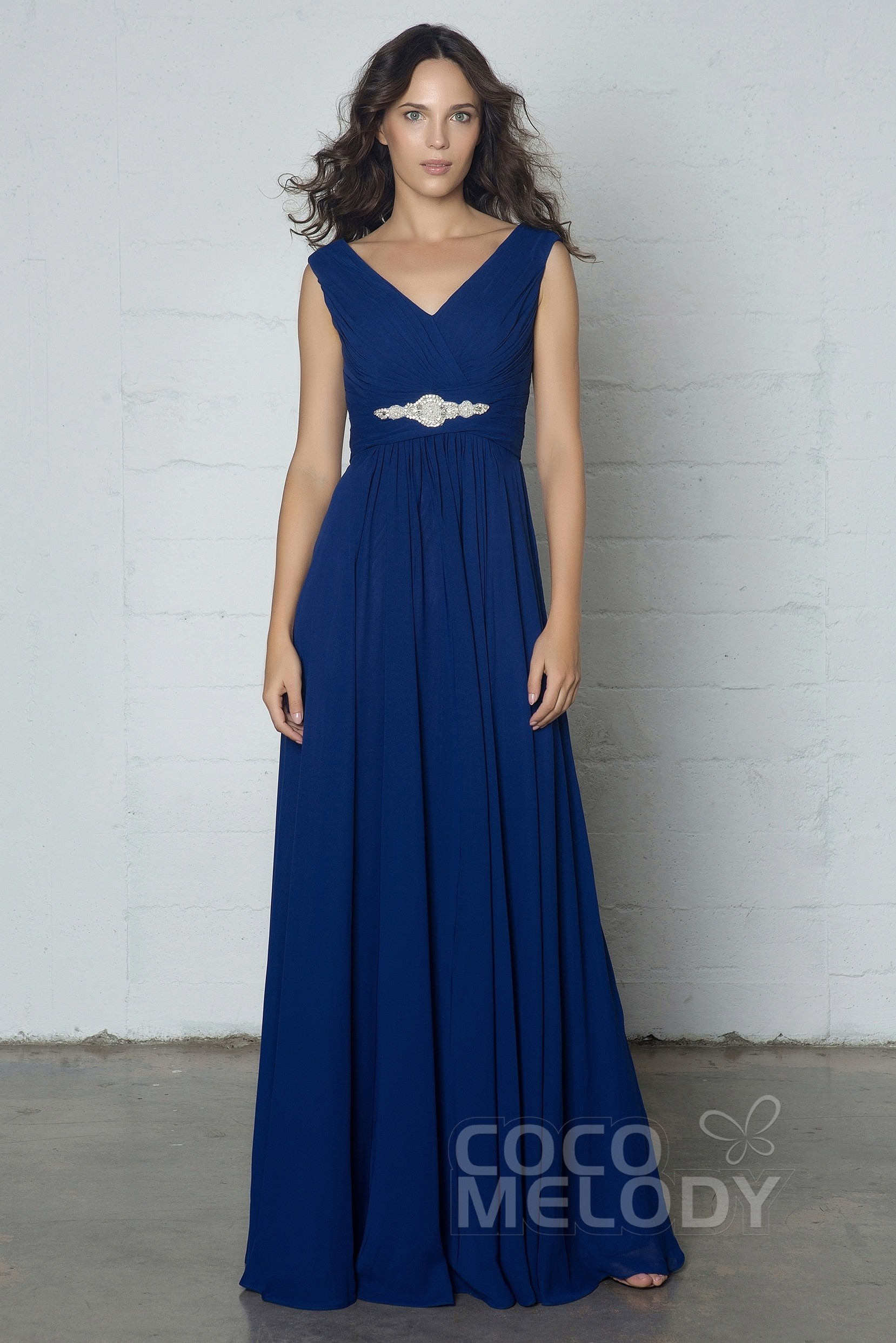 7e287545a7 Hot Sale Sheath-Column V-Neck Natural Floor Length Chiffon Sleeveless  Zipper Dress with
