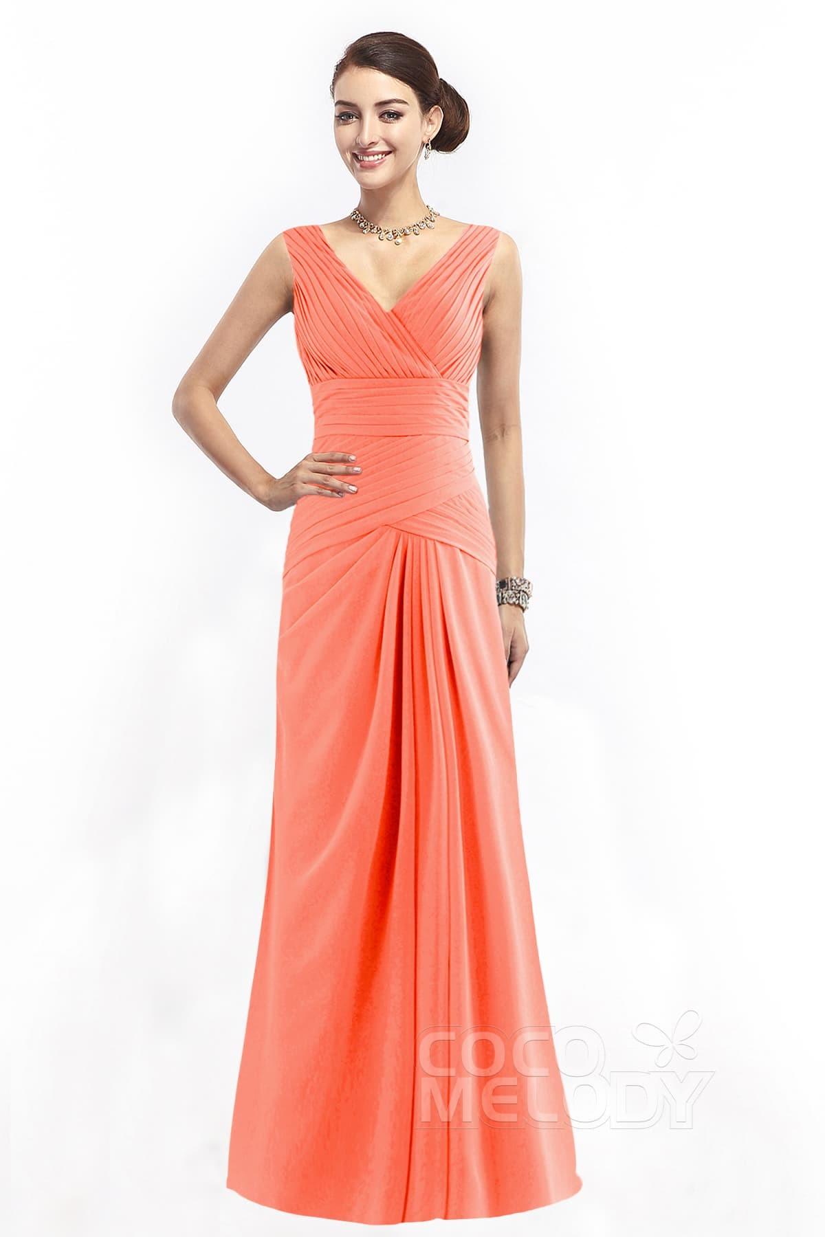 cb714d2e4bb3 Divine Sheath-Column V-Neck Natural Floor Length Chiffon Sleeveless Zipper  Bridesmaid Dress with