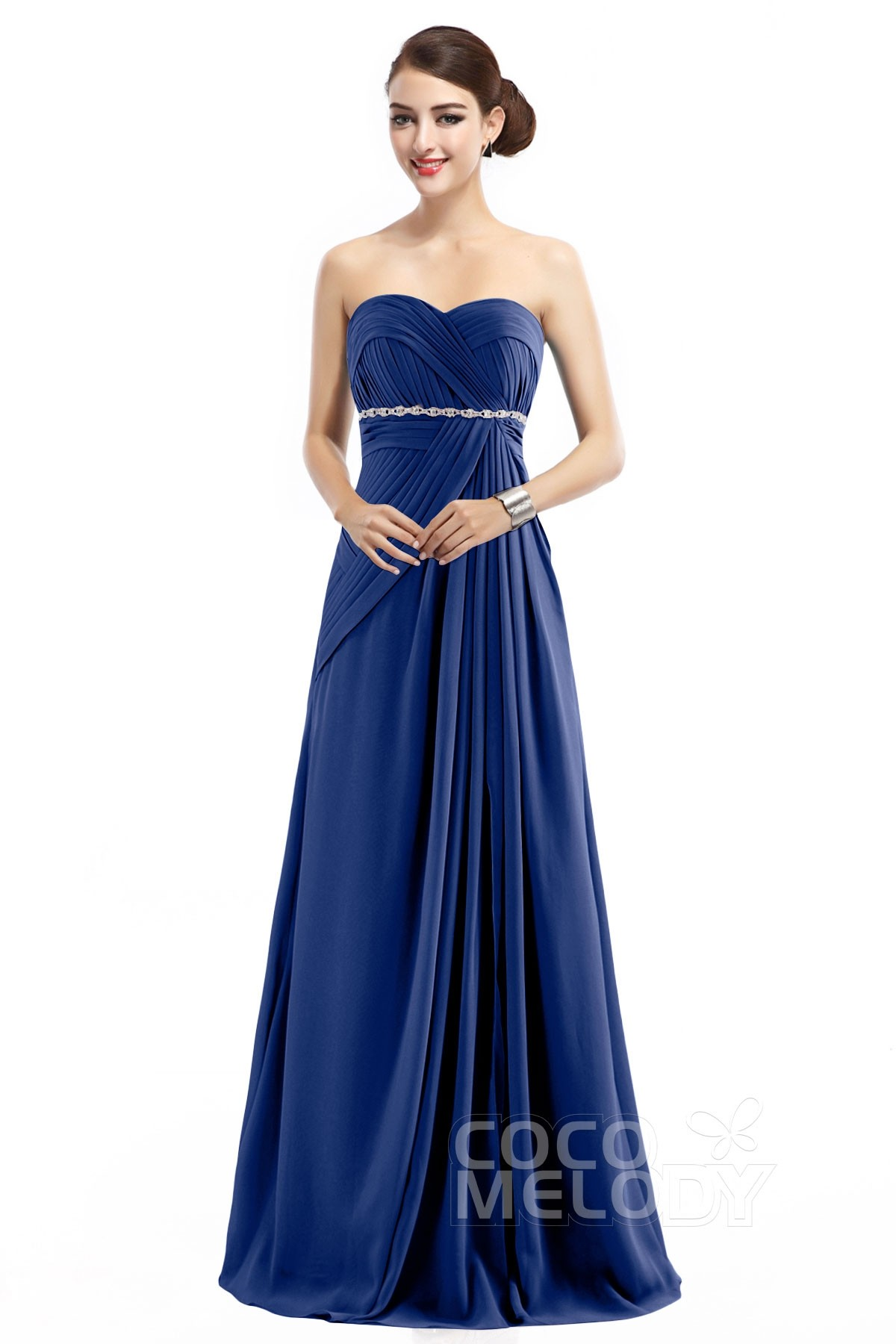 Latest Sheath-Column Sweetheart Natural Floor Length Chiffon Sleeveless  Zipper Bridesmaid Dress with Pleating COZF14022 9a2850934bf7