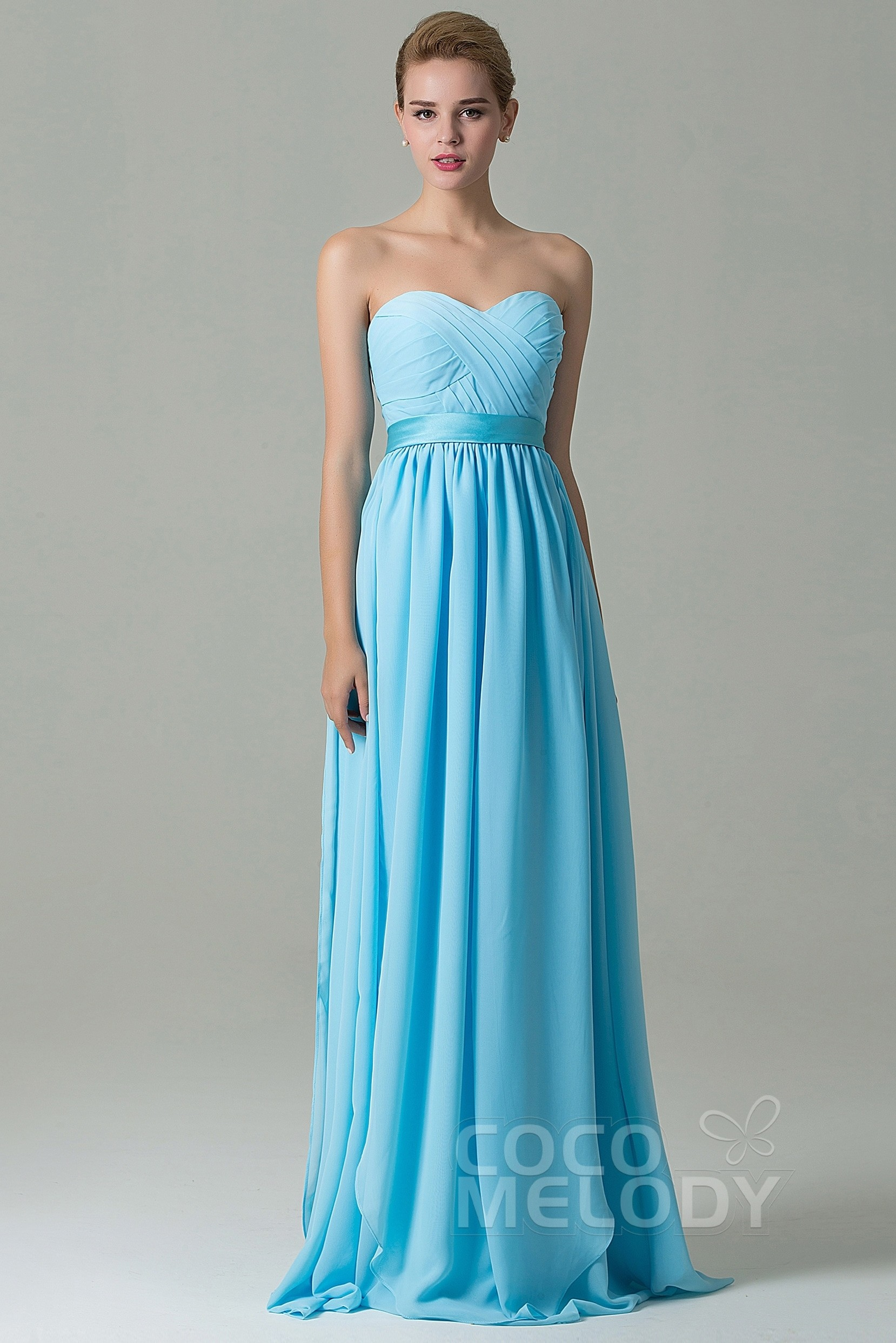 Cocomelody: Sheath-Column Floor Length Chiffon Bridesmaid Dress ...