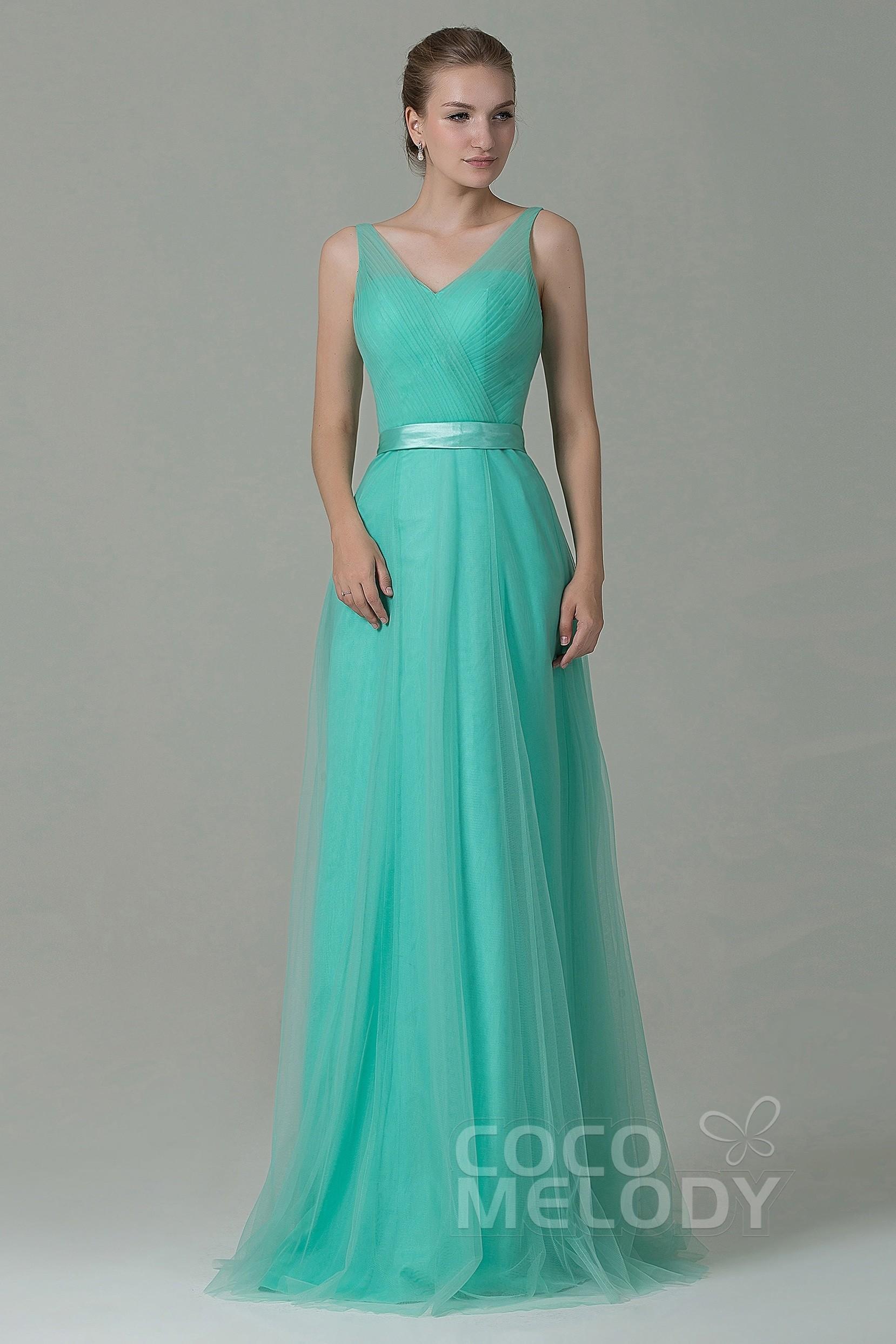 Cocomelody: Sheath-Column V-Neck Floor Length Tulle Bridesmaid Dress ...