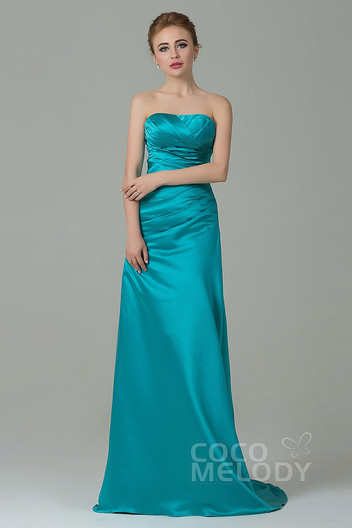 Queenly Sheath Column Strapless Natural Sweep Brush Train Satin Sleeveless Lace Up Corset Bridesmaid Dress With Pleating Cozf15010