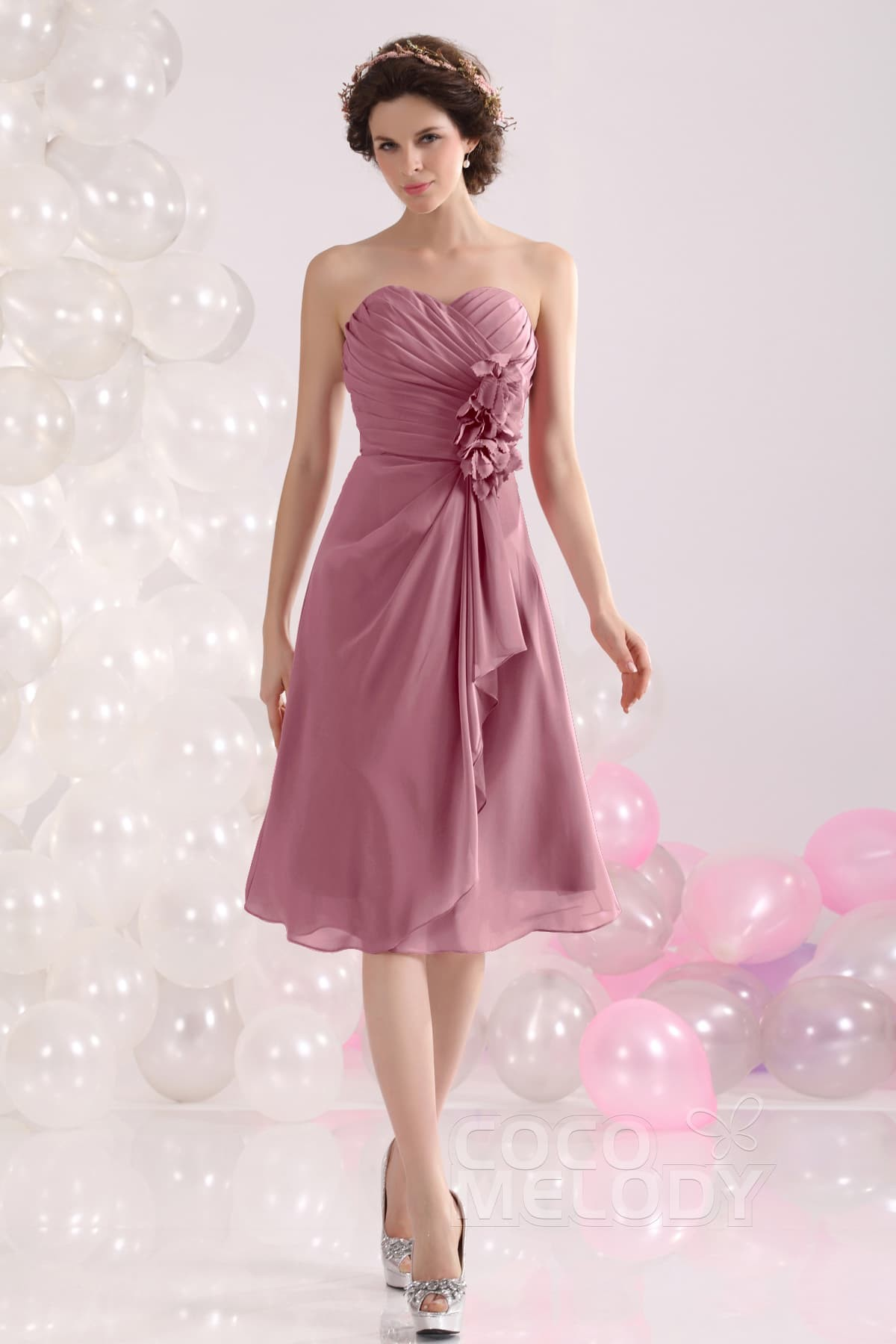 Cocomelody: A-Line Sweetheart Knee Length Chiffon Bridesmaid Dress ...